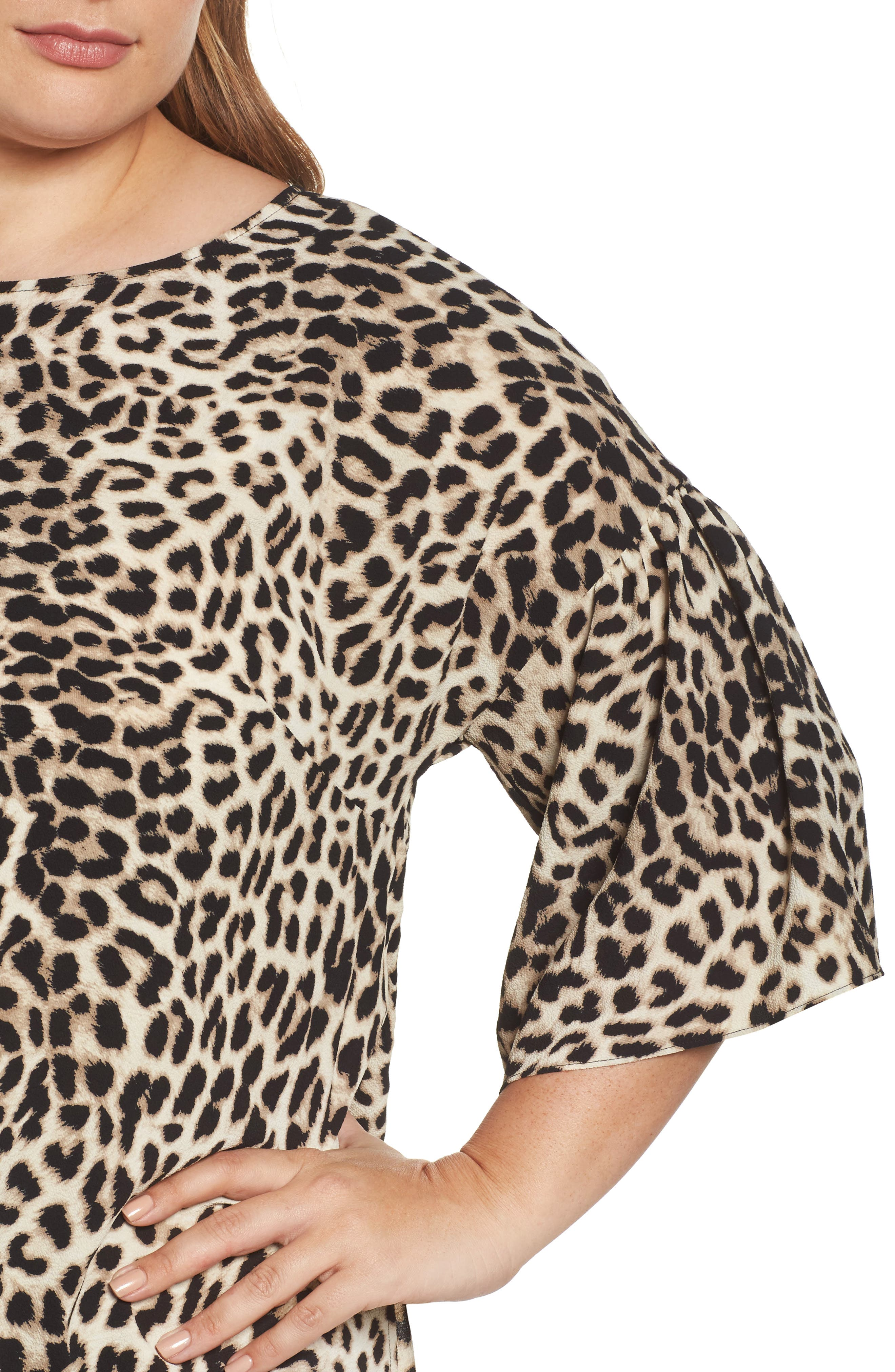 Alternate Image 4  - Vince Camuto Leopard Song Bell Sleeve Blouse (Plus Size)