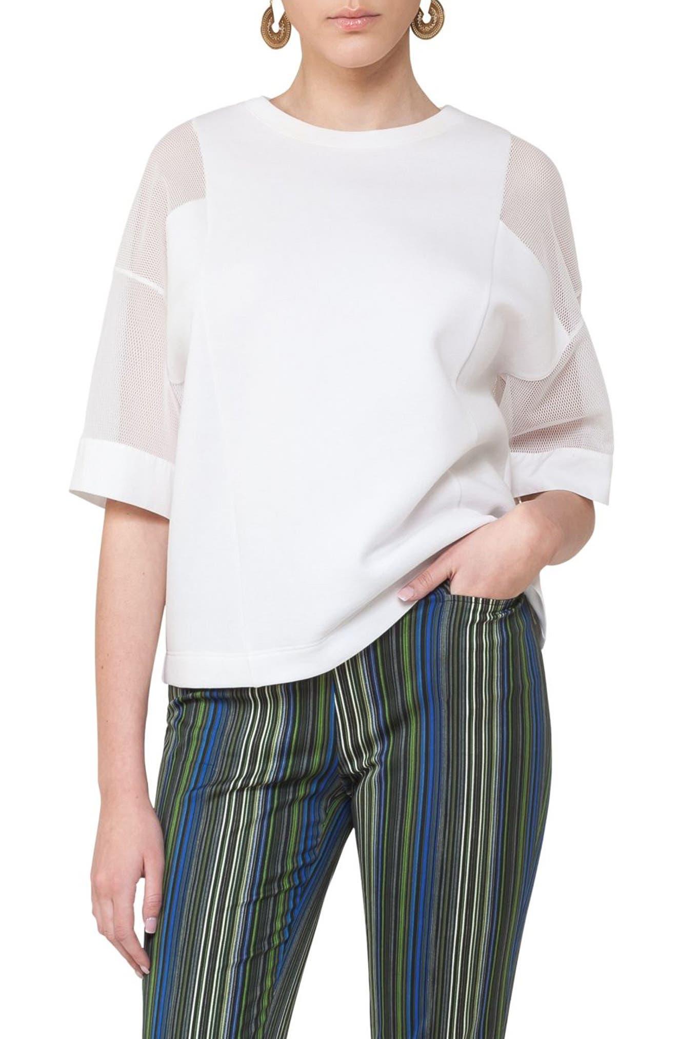 Akris punto Mesh Sleeve Sweatshirt