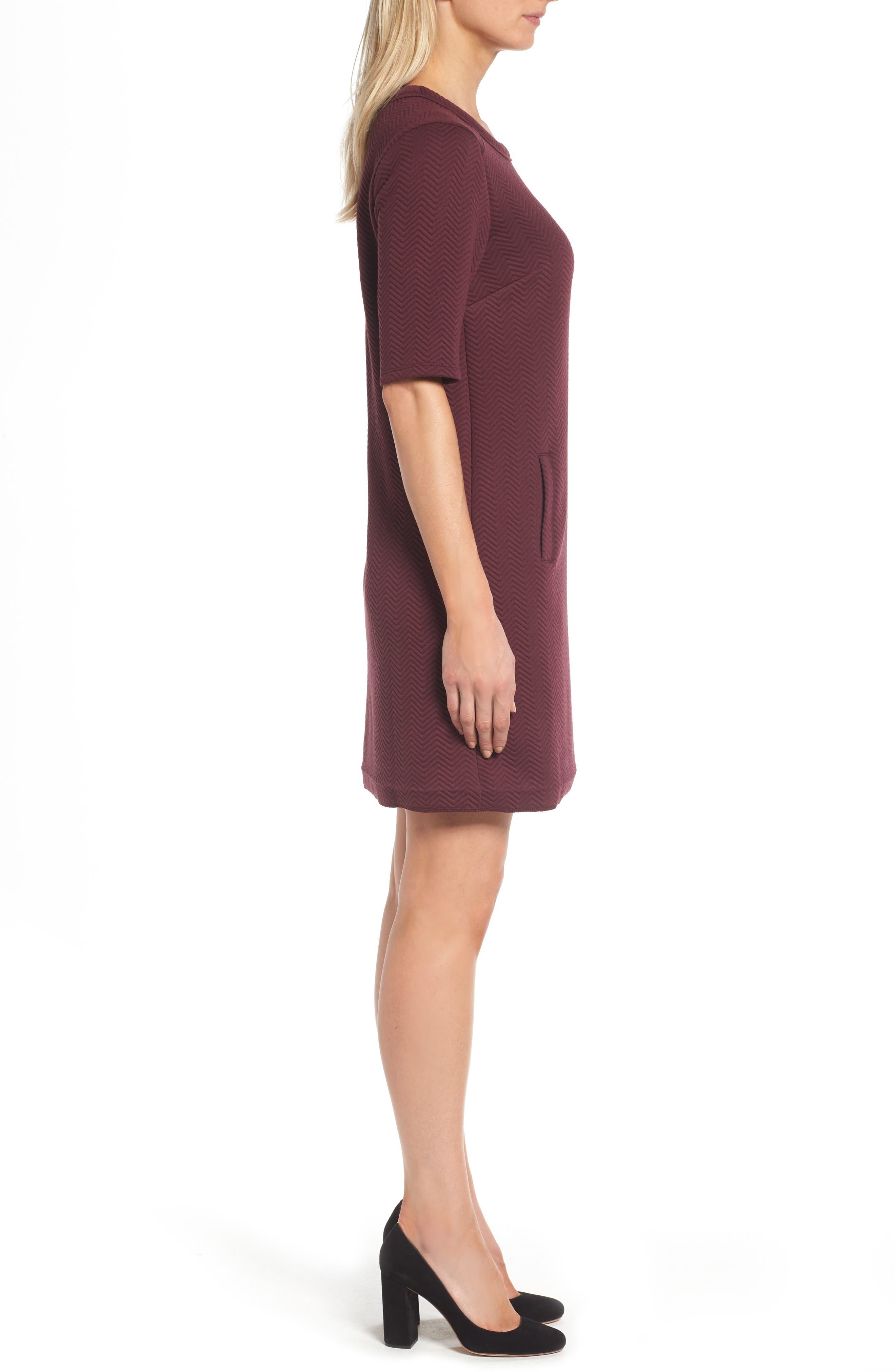 Alternate Image 3  - Halogen® Textured Elbow Sleeve Tunic Dress (Regular & Petite)