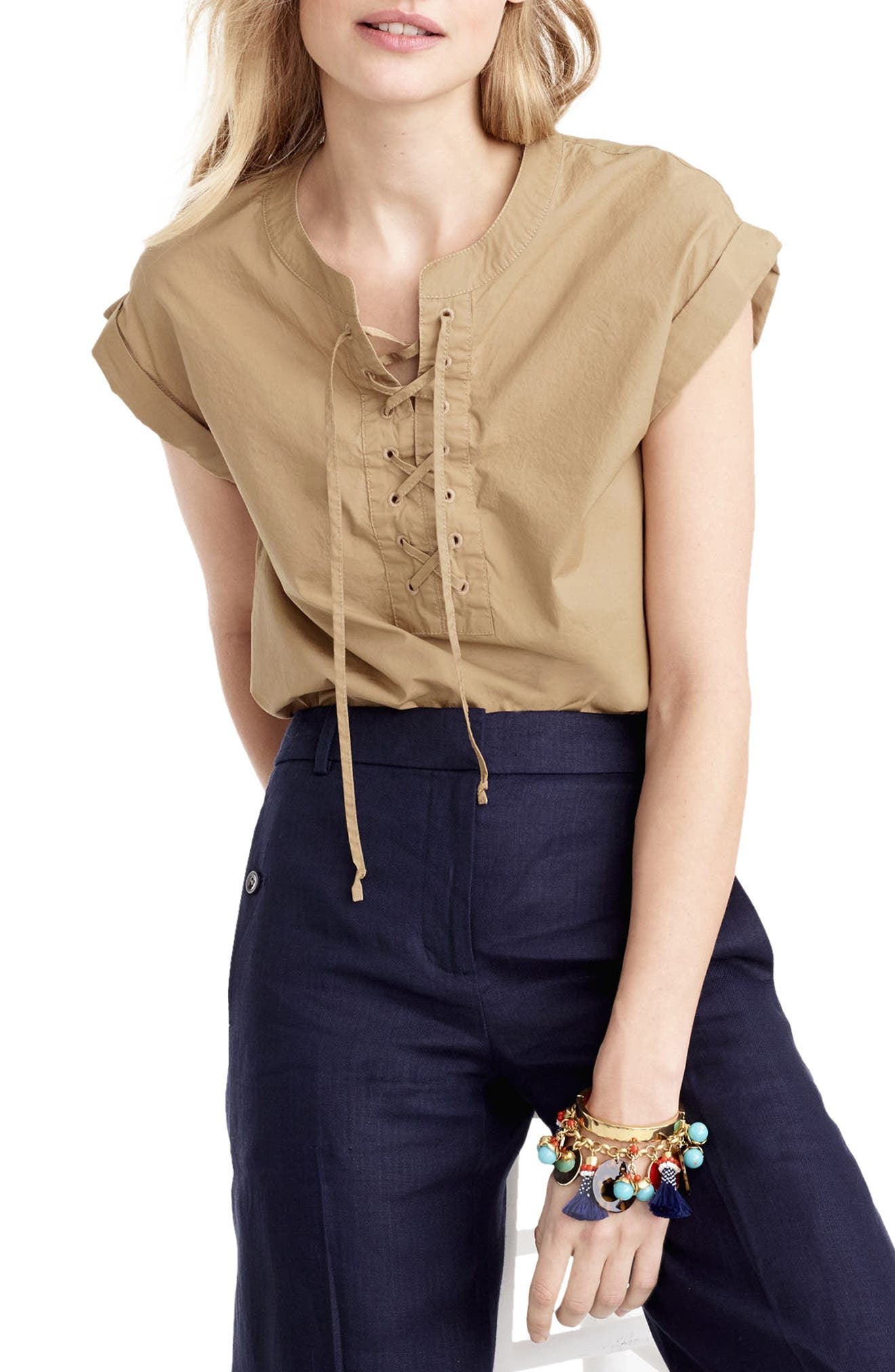 J.Crew Lace-Up Popover Top (Regular & Petite)