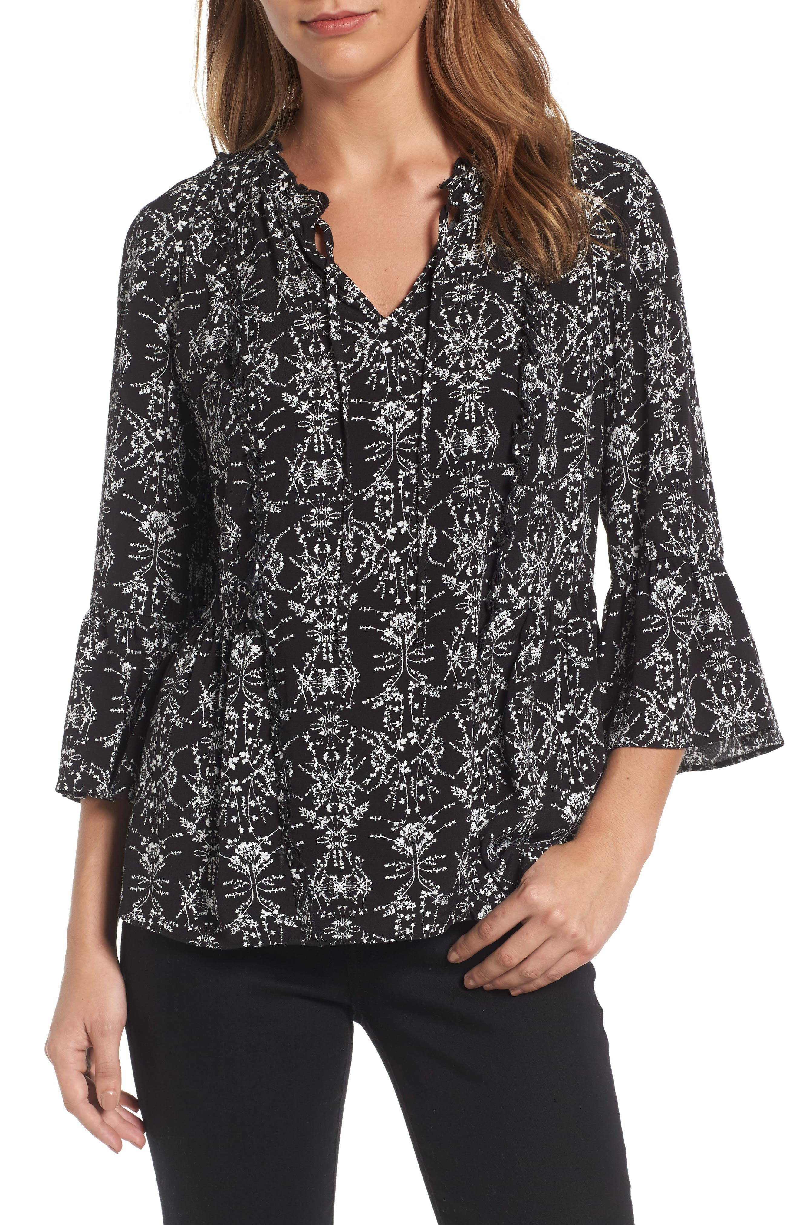 Caslon® Bell Sleeve Top (Regular & Petite)