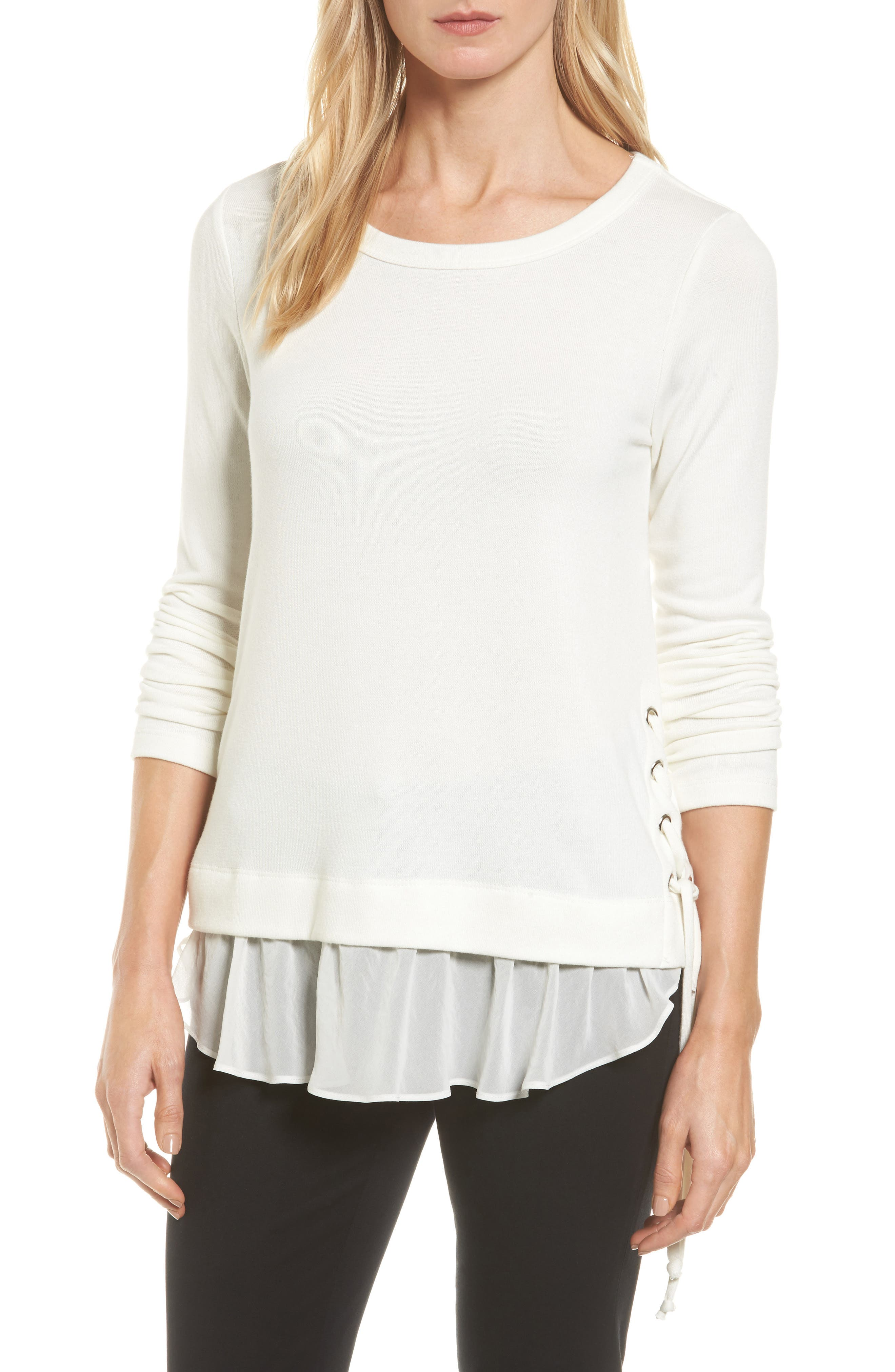 Karen Kane Layer Look Lace-Up Sweater