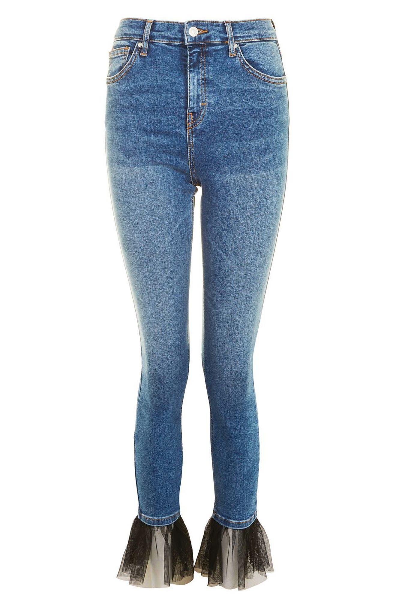 Alternate Image 5  - Topshop Jamie Tulle Hem Skinny Jeans