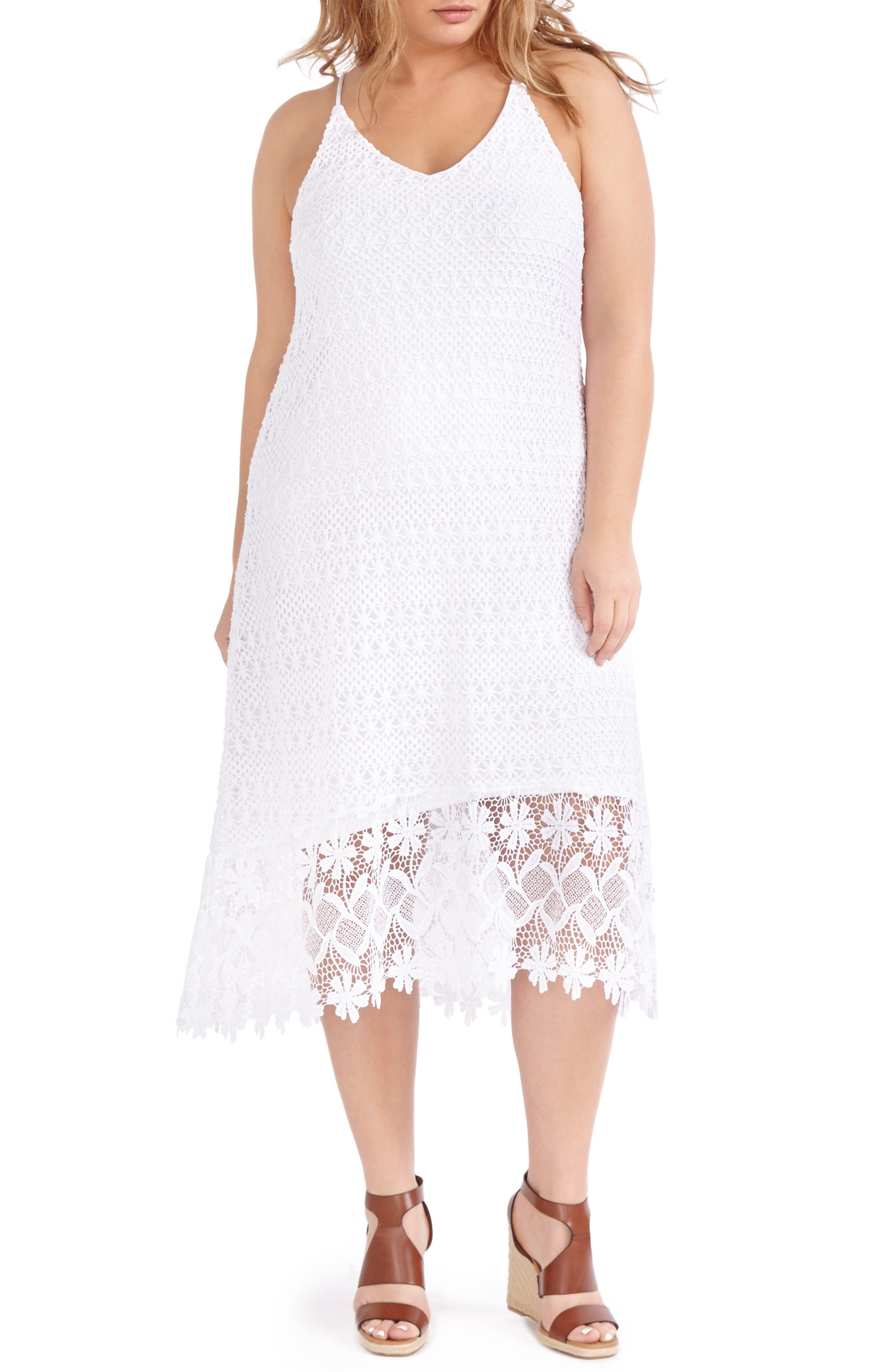 ADDITION ELLE LOVE AND LEGEND High/Low Lace Slipdress (Plus SIze)
