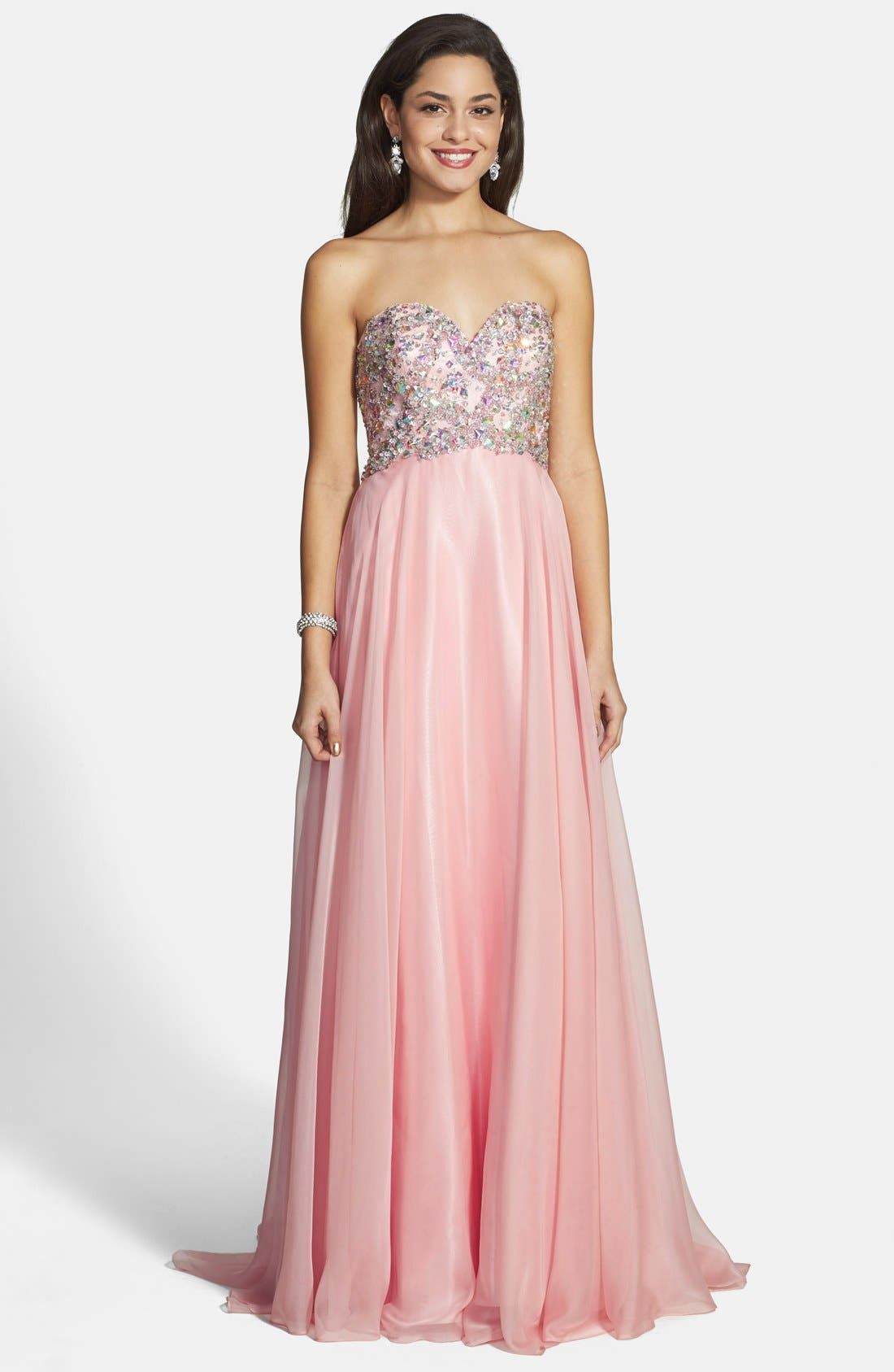 Alternate Image 1 Selected - Alyce Paris Embellished Strapless Chiffon Gown