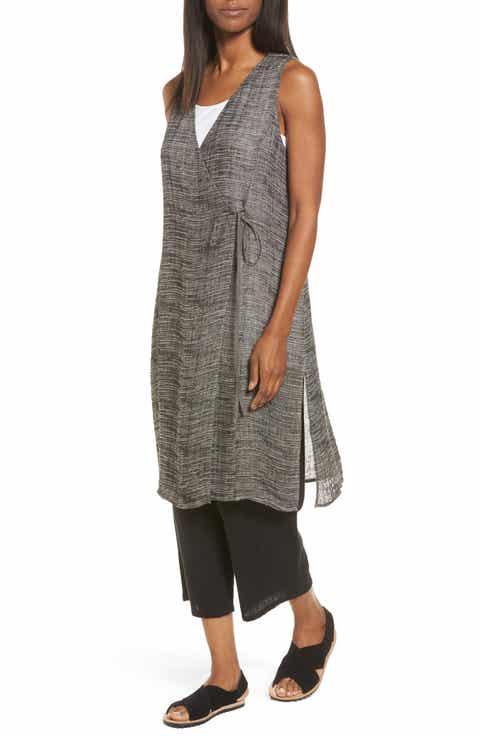 Eileen Fisher Organic Linen Blend Wrap Tunic (Regular   Petite)