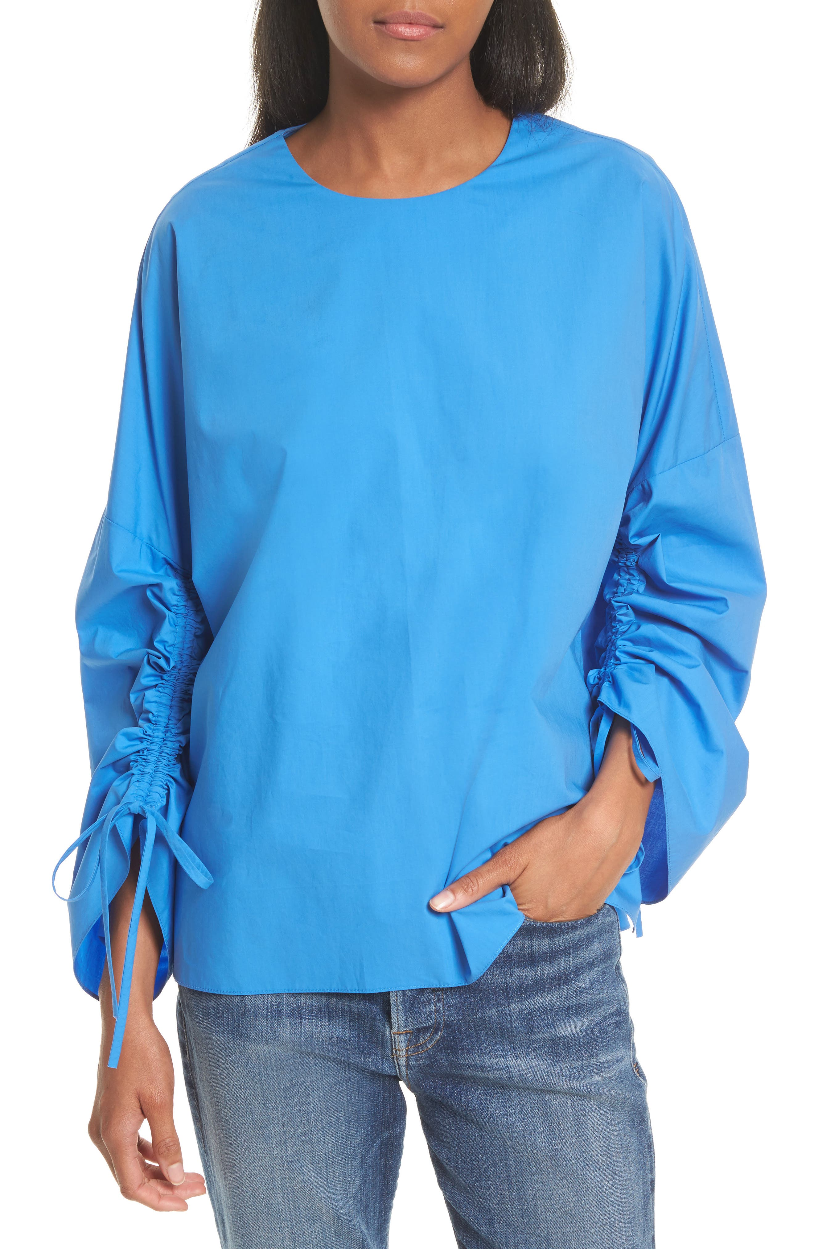 Tibi Bell Sleeve Cotton Poplin Top