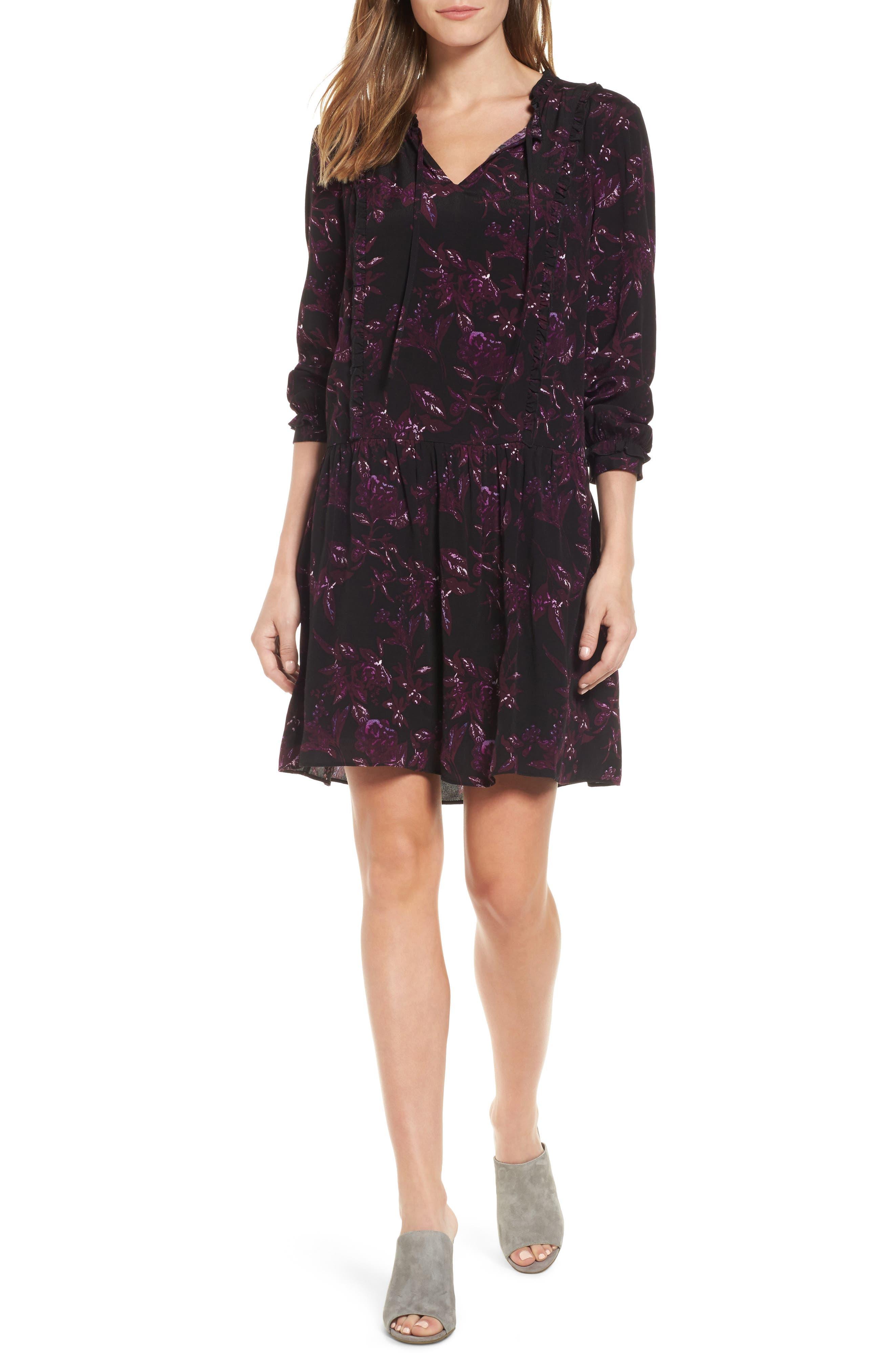 Caslon® Ruffle Split Neck Dress (Regular & Petite)