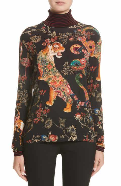 Etro Tiger Print Mock Neck Sweater