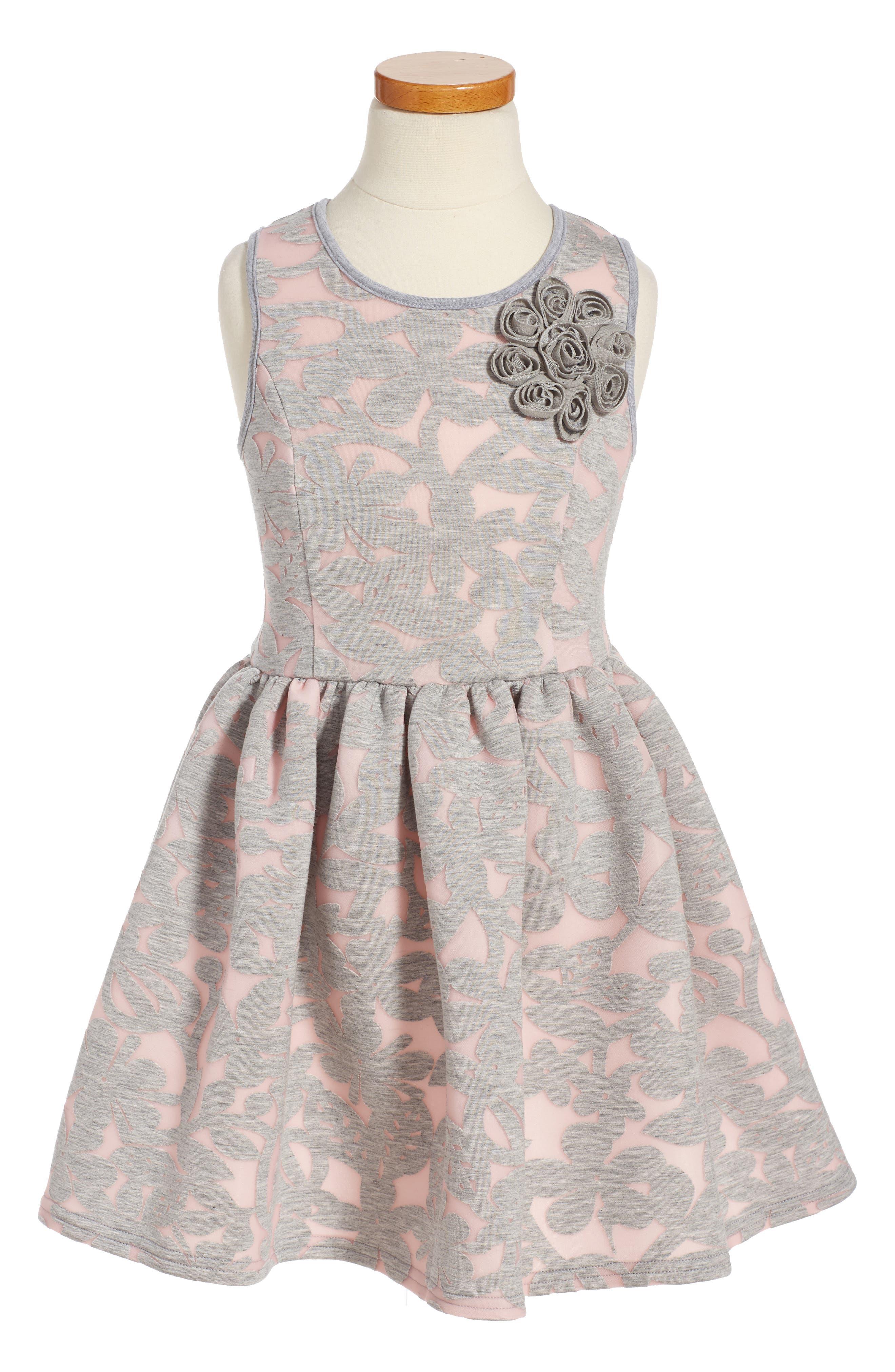 Pippa & Julie Floral Burnout Scuba Dress (Toddler Girls & Little Girls)