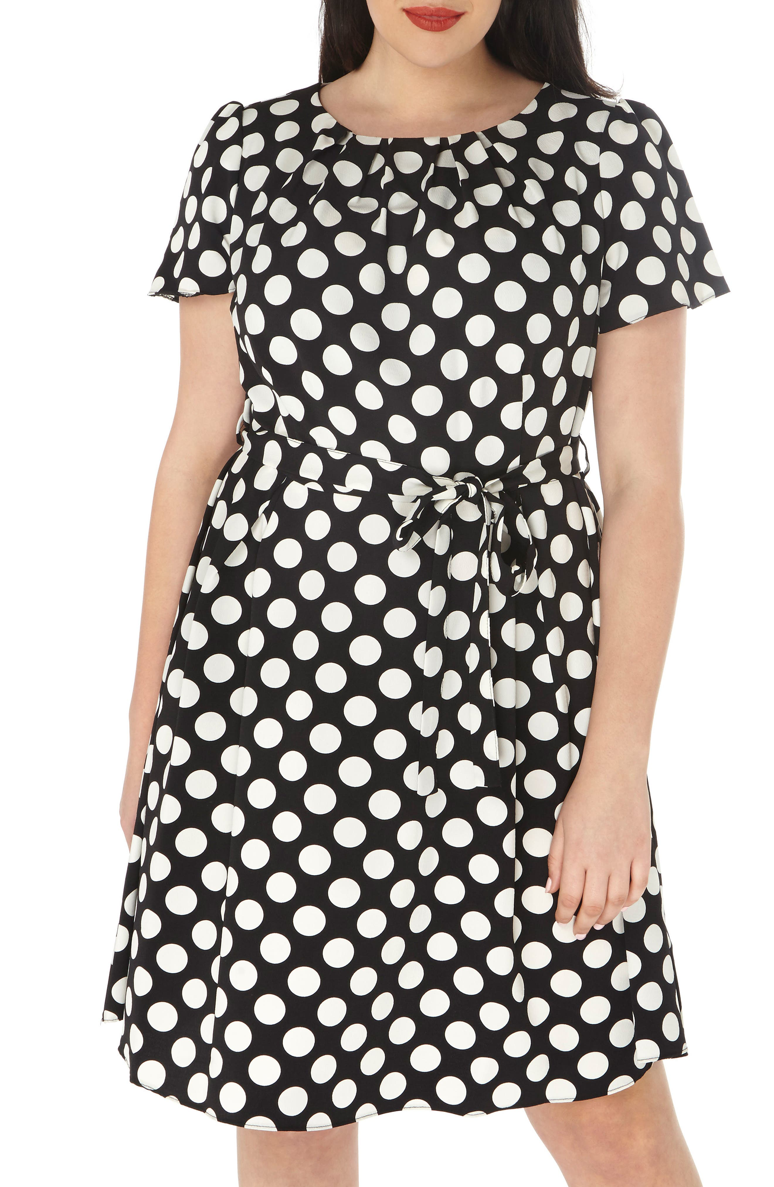 Dorothy Perkins Mono Spot Belted Fit & Flare Dress (Plus Size)
