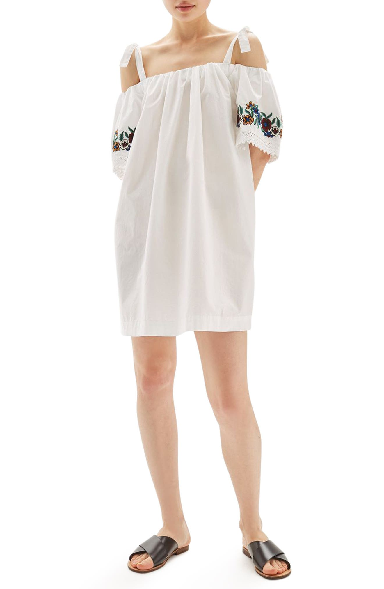 Topshop Bardot Embroidered Dress