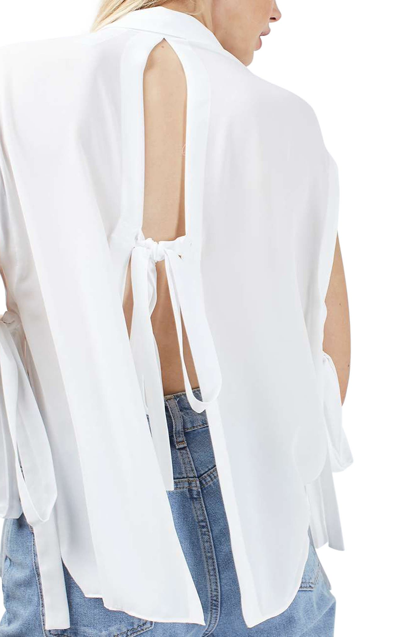 Topshop Tie Back Sleeveless Shirt