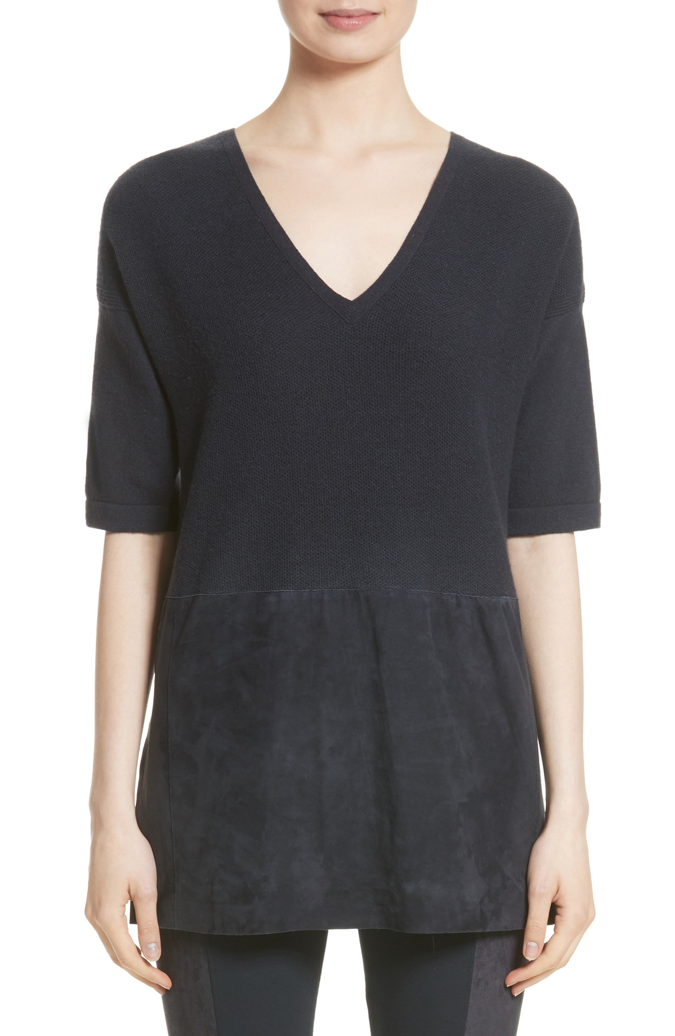 Lafayette 148 New York Faux Suede Hem Top (Nordstrom Exclusive)