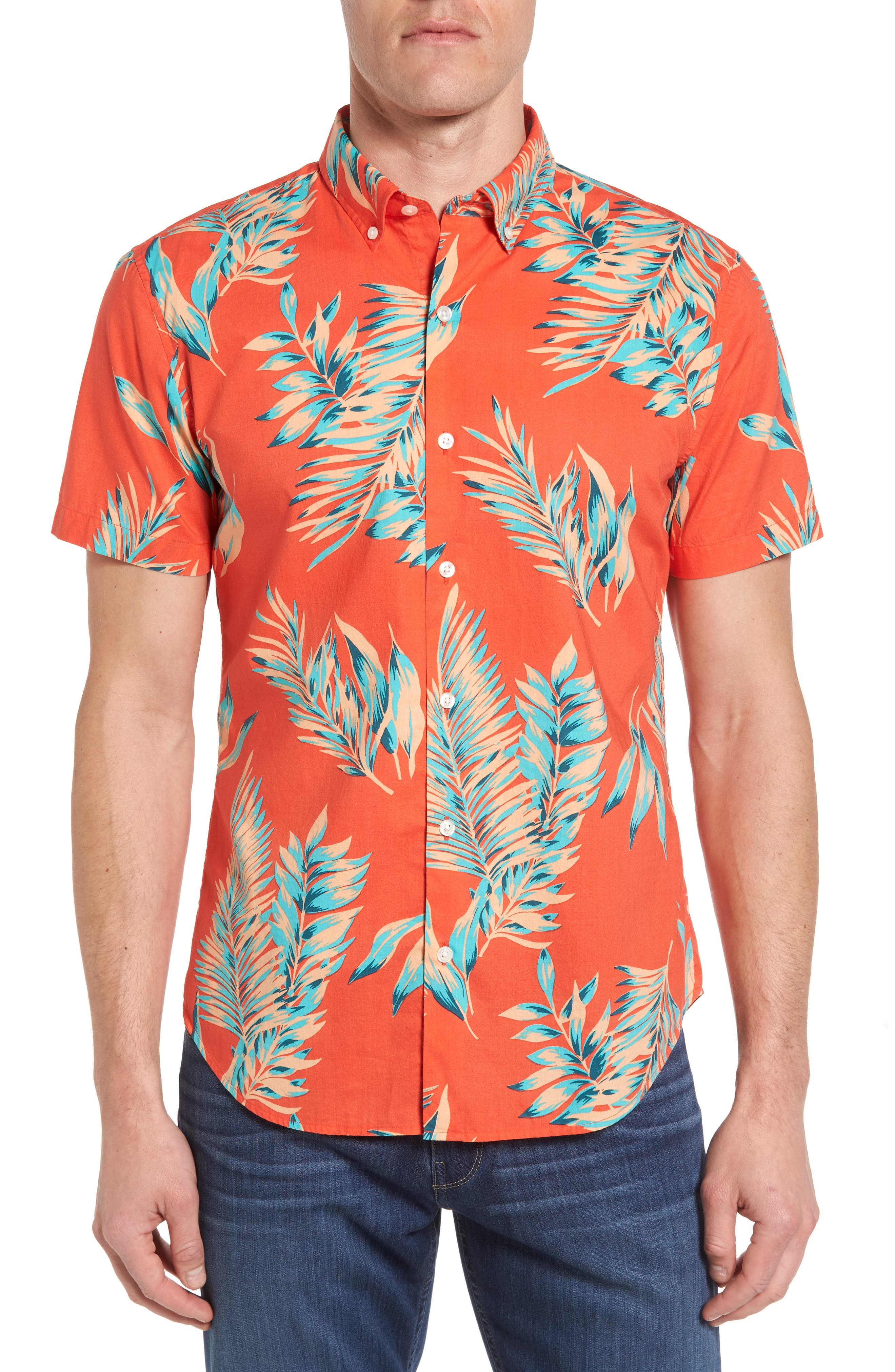 Bonobos Slim Fit Short Sleeve Tropical Print Sport Shirt