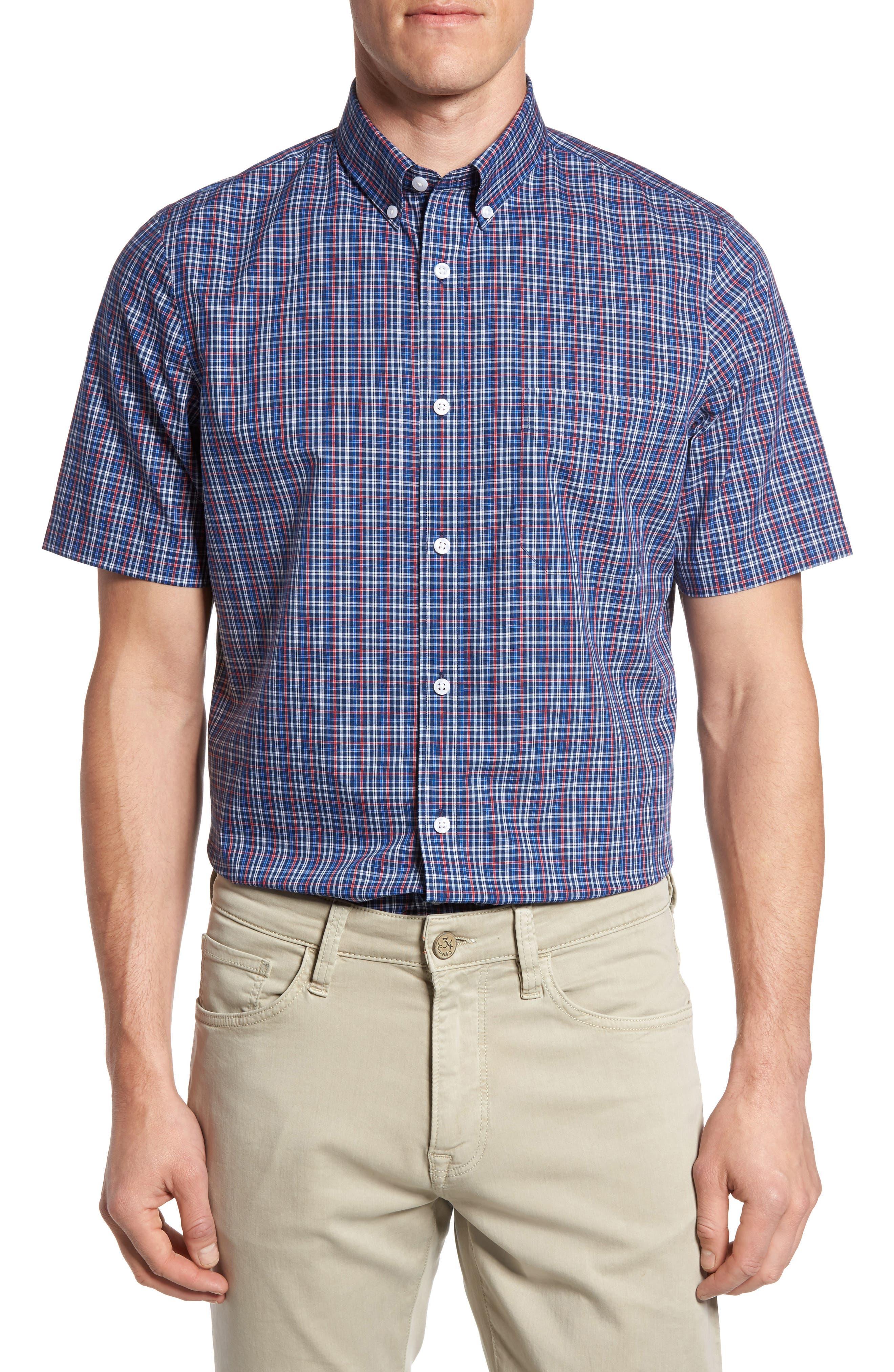 Nordstrom Men's Shop Smartcare™ Regular Fit Check Sport Shirt (Big)