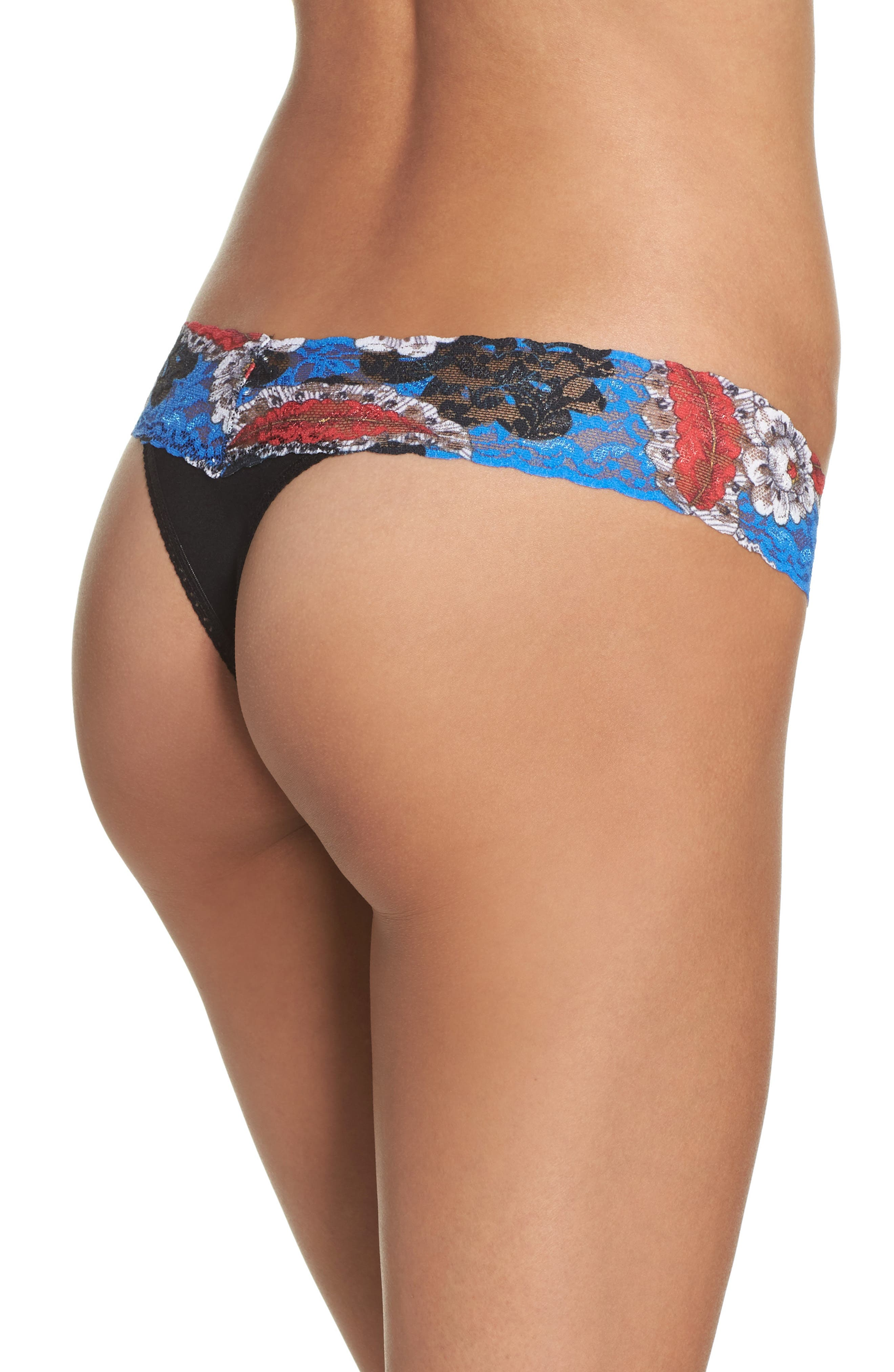 Alternate Image 2  - Hanky Panky Mid Rise Modal Thong with Lace Trim
