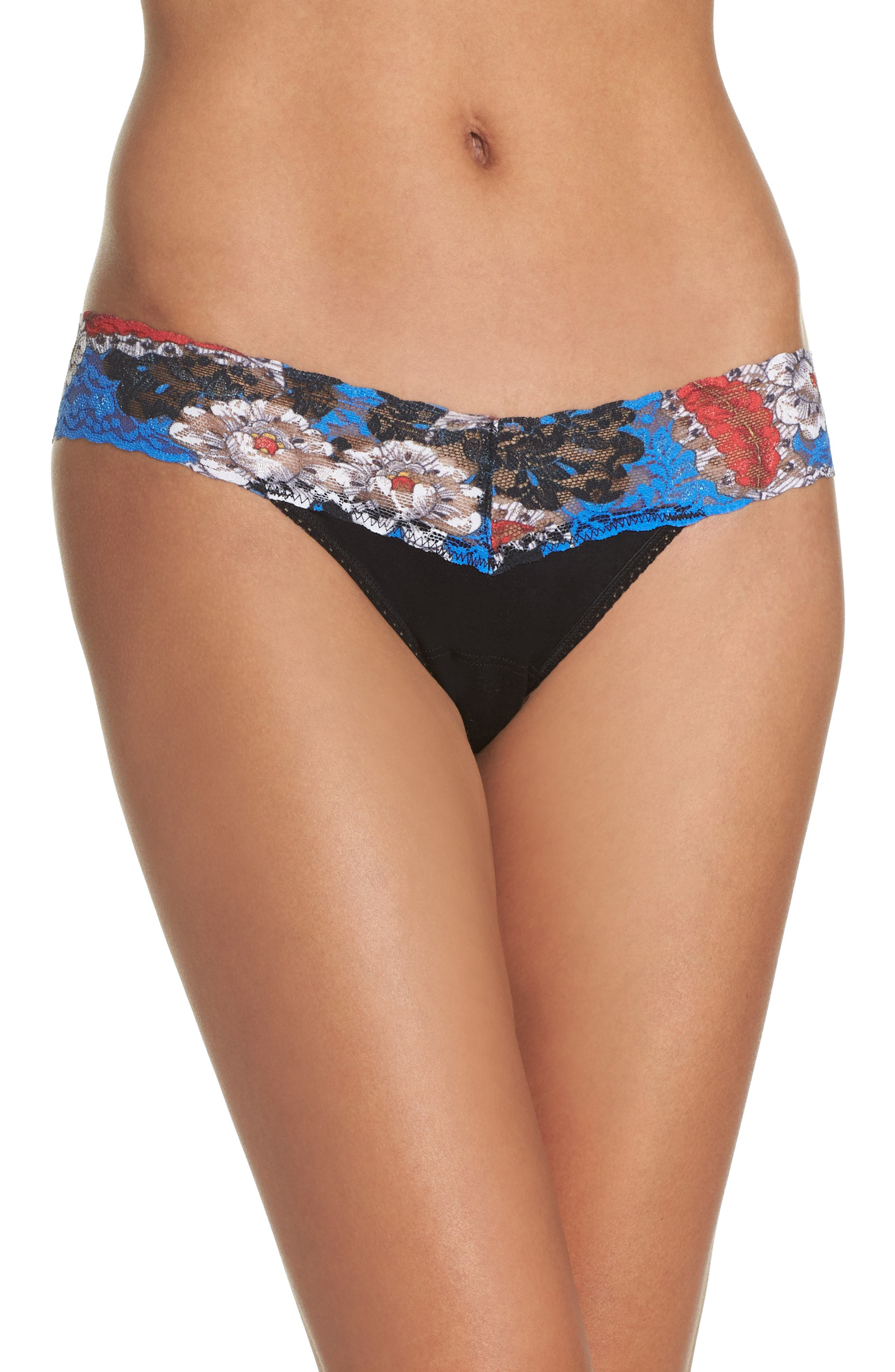 Main Image - Hanky Panky Mid Rise Modal Thong with Lace Trim
