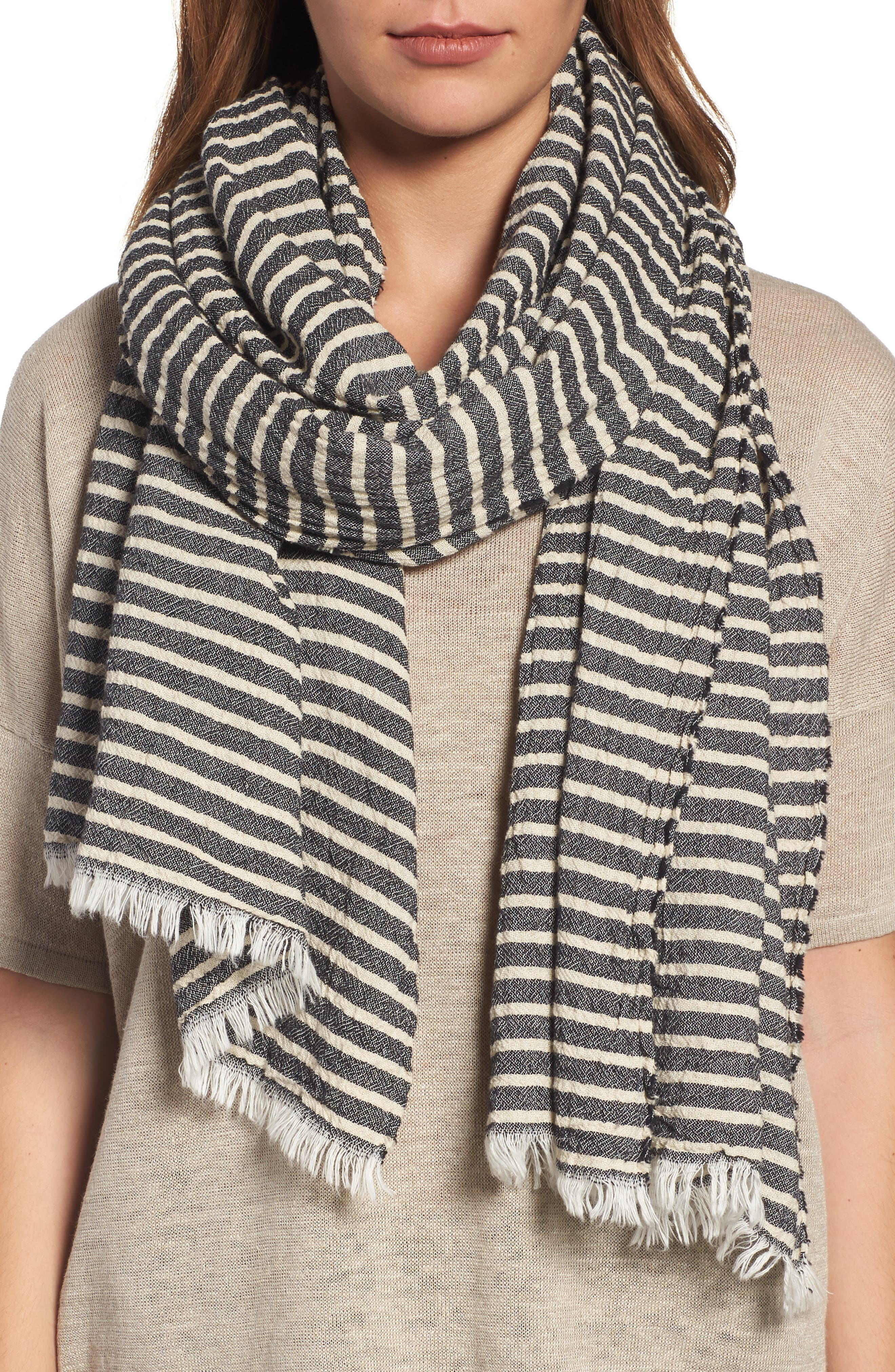 Eileen Fisher Stripe Organic Cotton Scarf