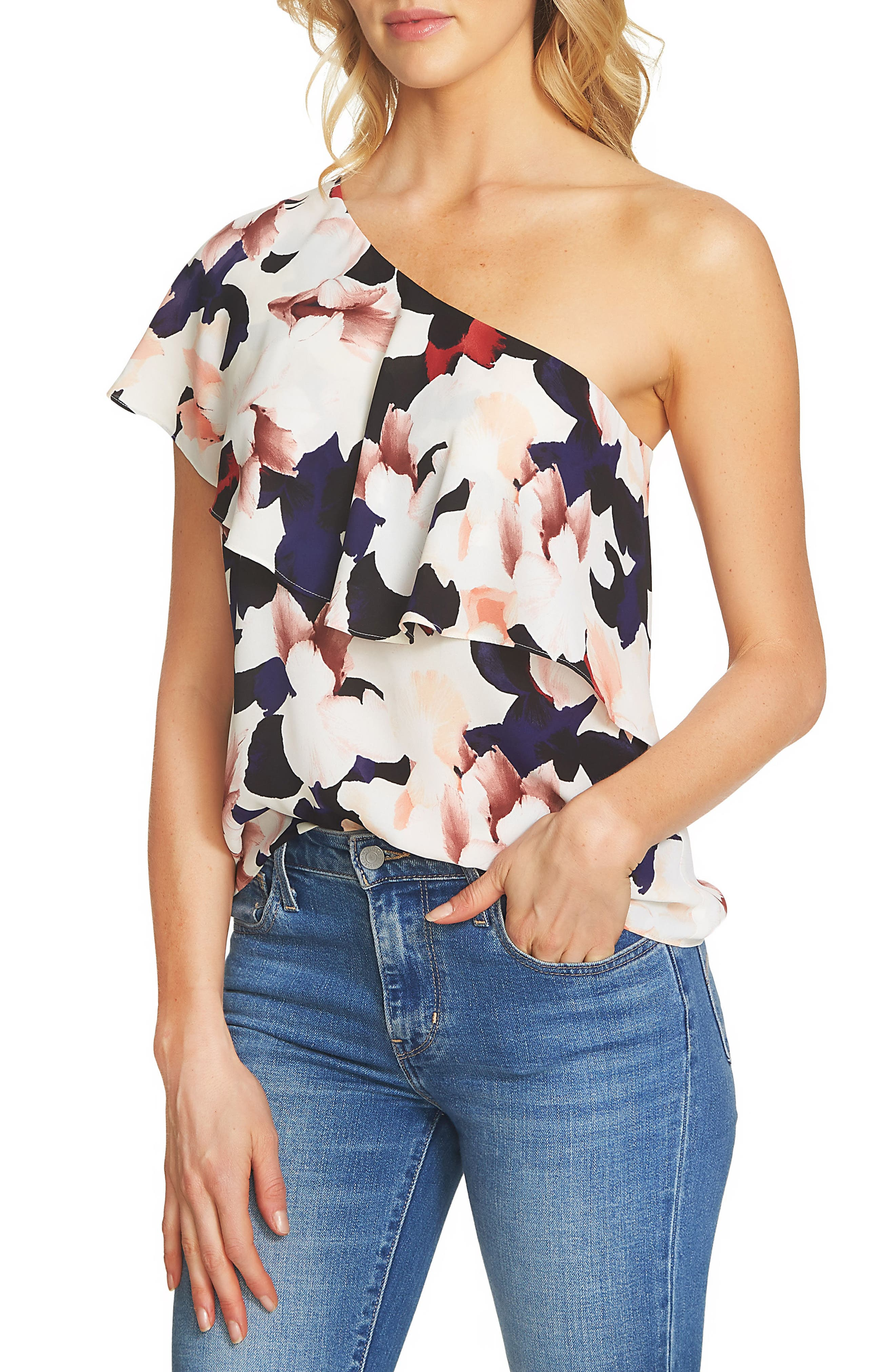 1.STATE Floral Ruffle One-Shoulder Blouse