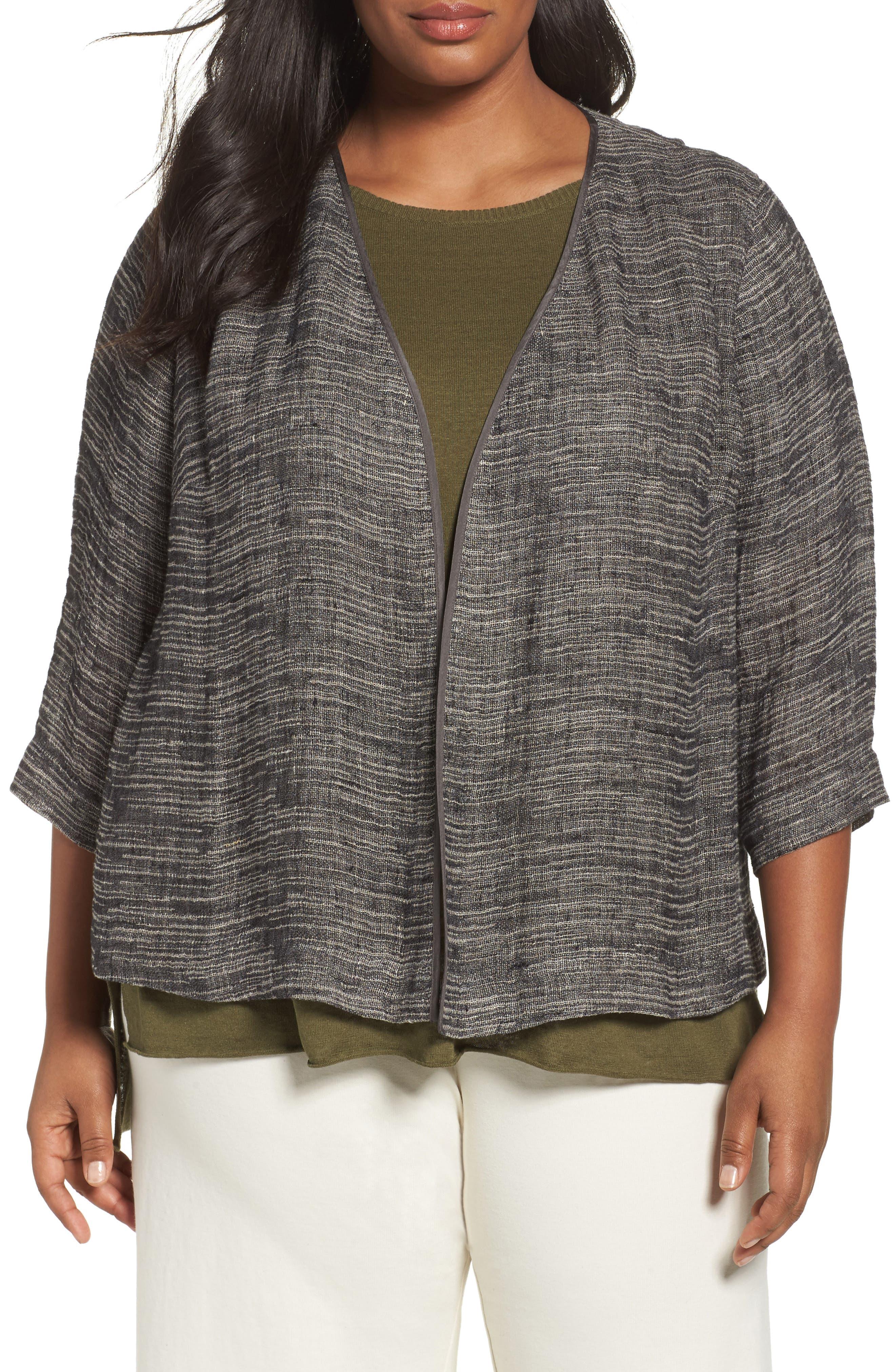 Eileen Fisher Organic Linen Blend Kimono Jacket (Plus Size)
