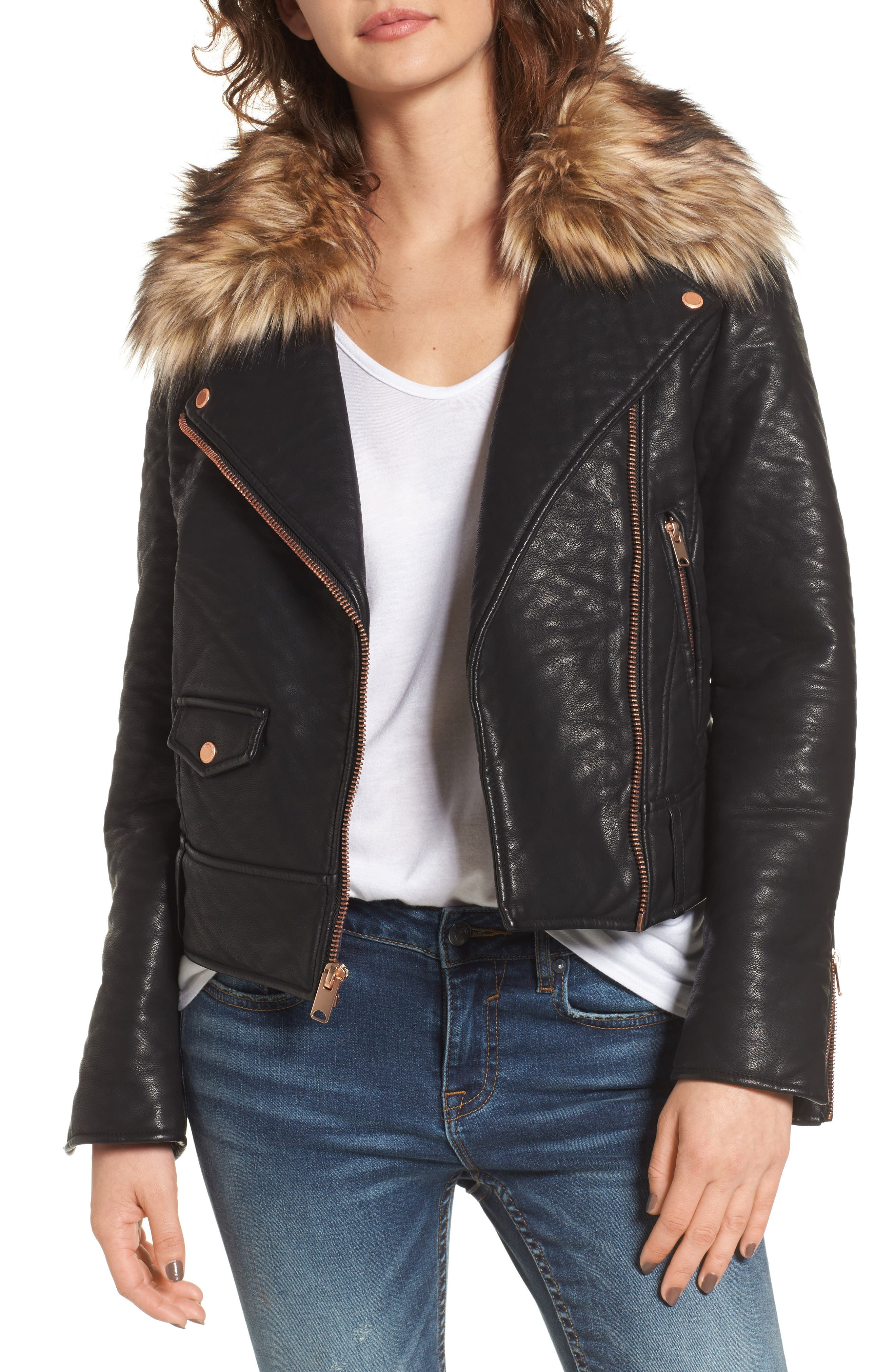 Andrew Marc Beverly Faux Leather Jacket with Faux Fur Trim