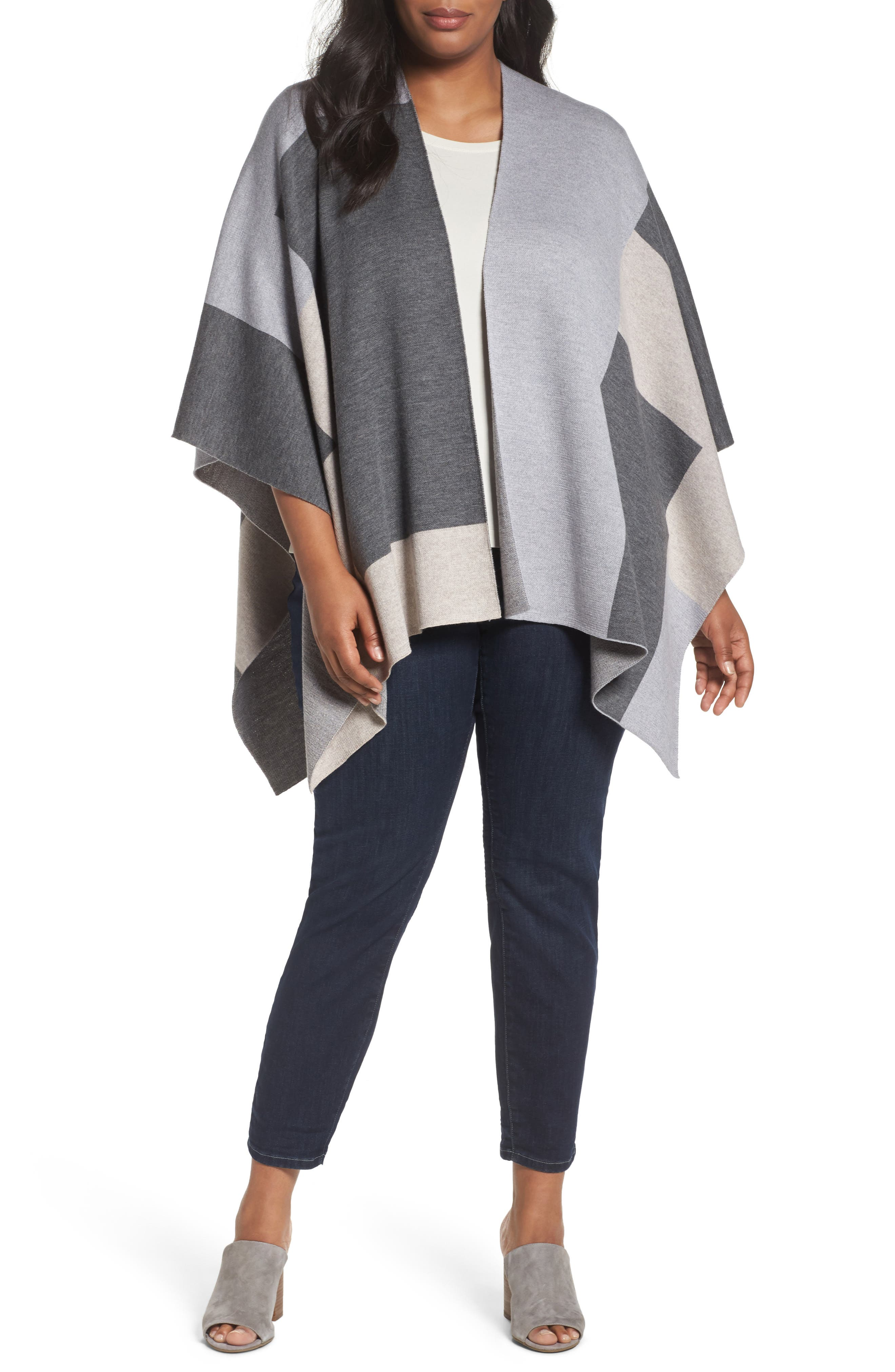 Eileen Fisher Colorblock Merino Wool Poncho Cardigan (Plus Size)