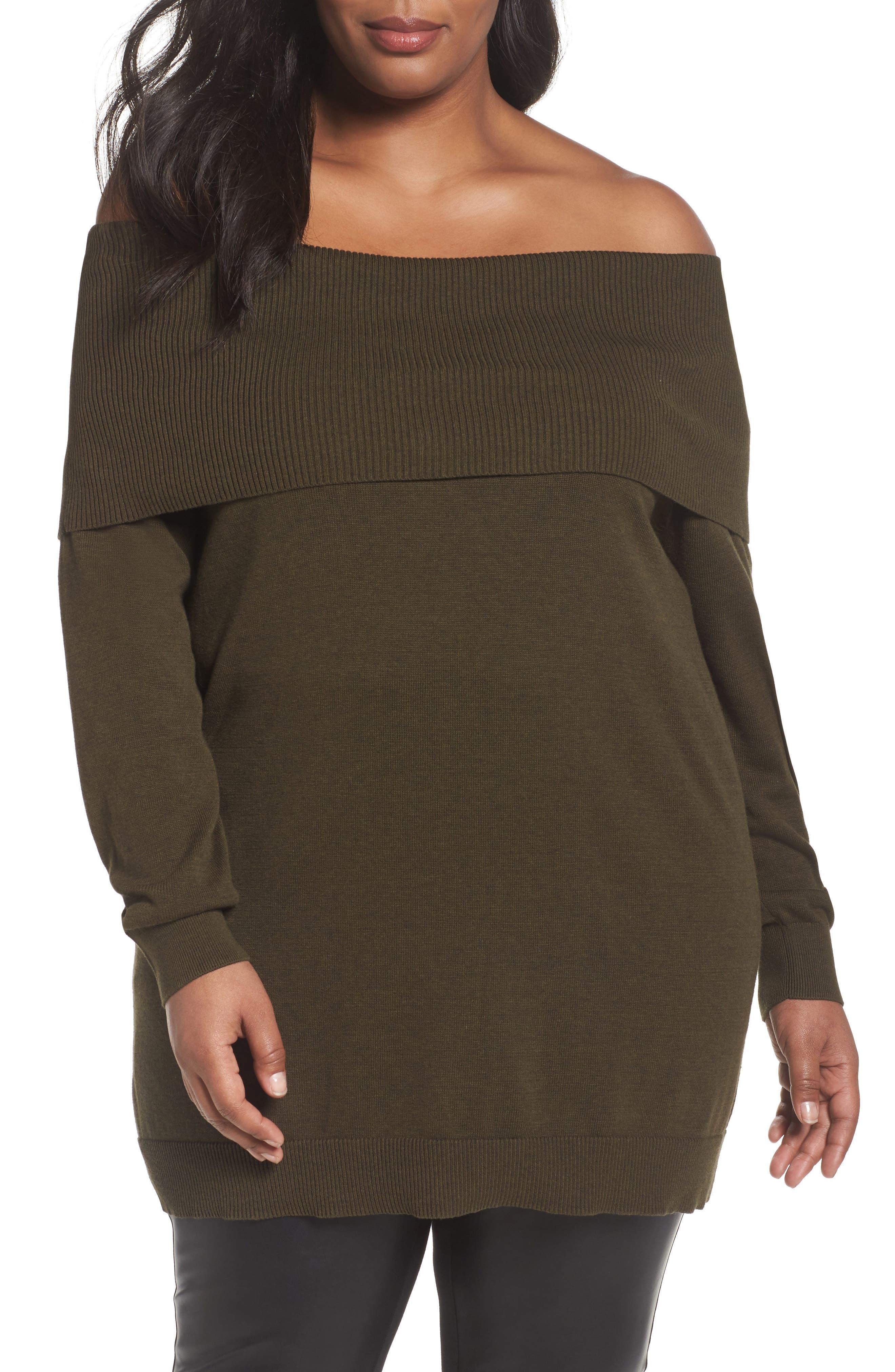 Sejour Convertible Neck Sweater (Plus Size)