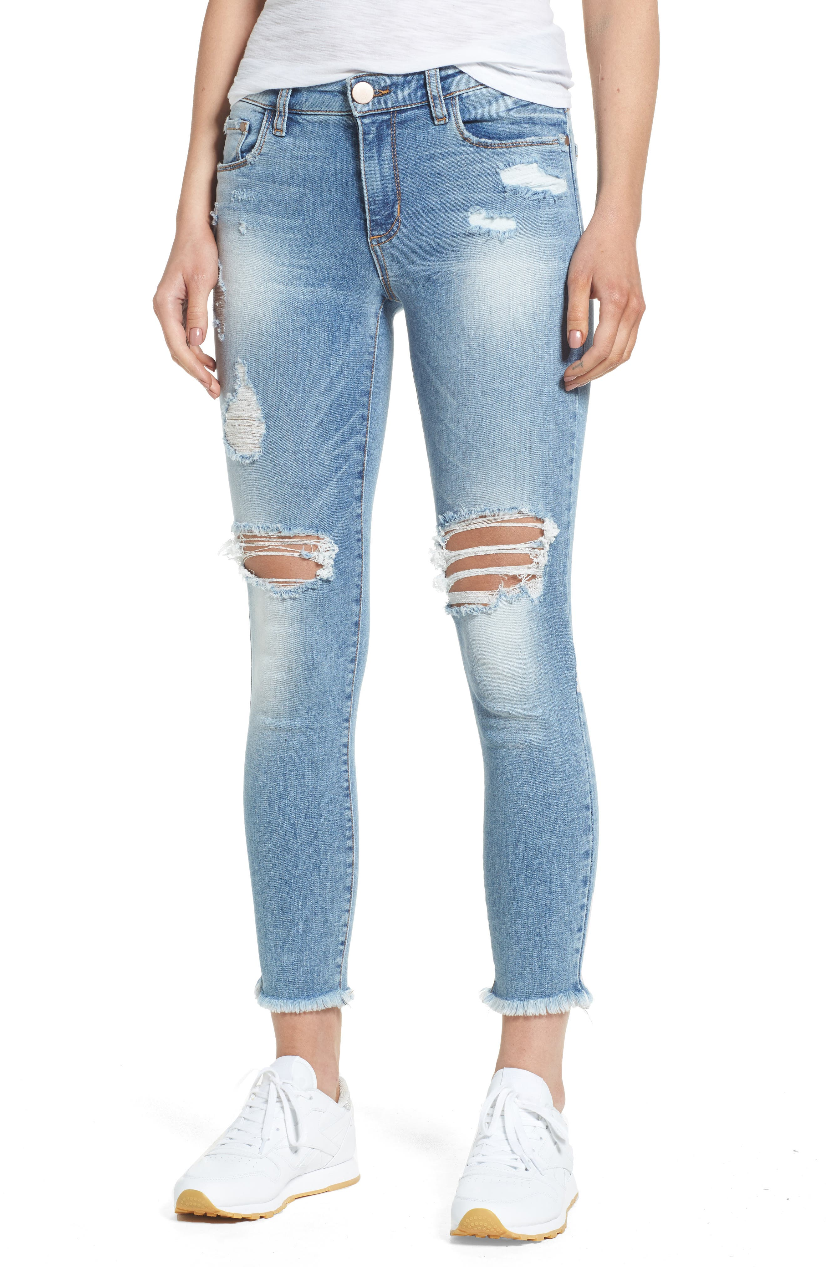 BP. Ripped Ankle Skinny Jeans (Destroy Medium Worn Wash)