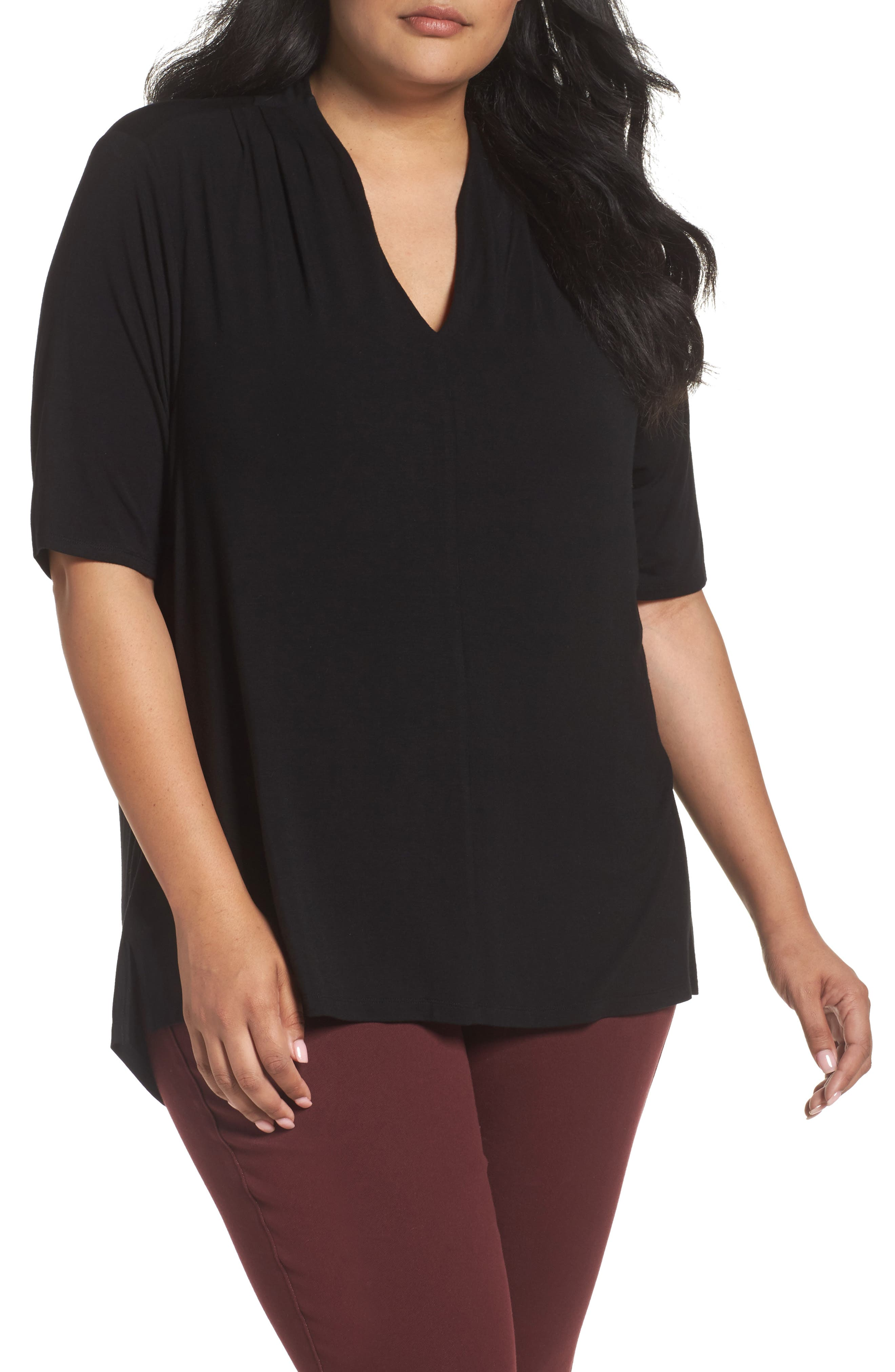 Sejour Shoulder Pleat Jersey Top (Plus Size)