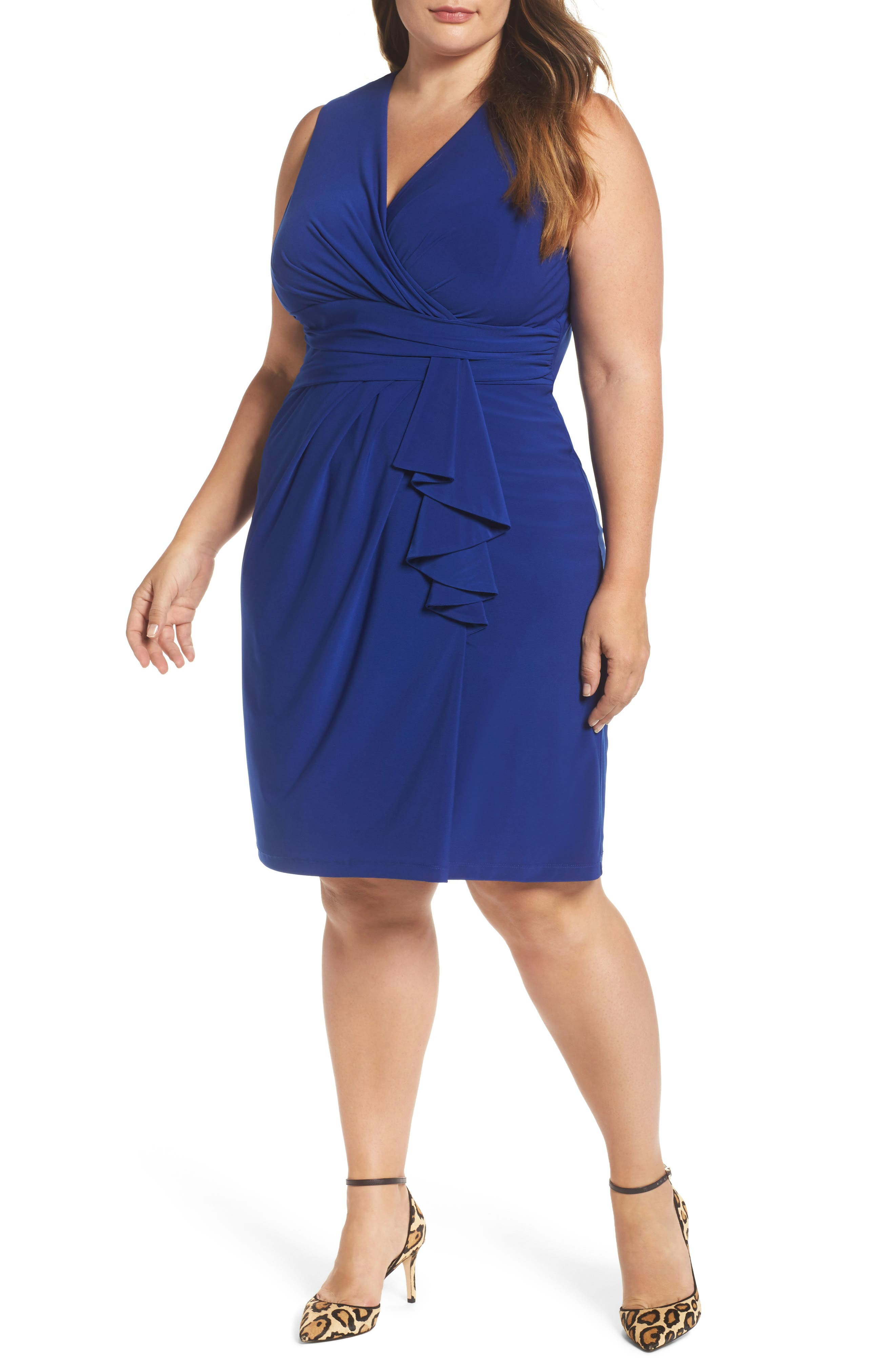 Main Image - Eliza J Side Ruffle Faux Wrap Jersey Dress (Plus Size)