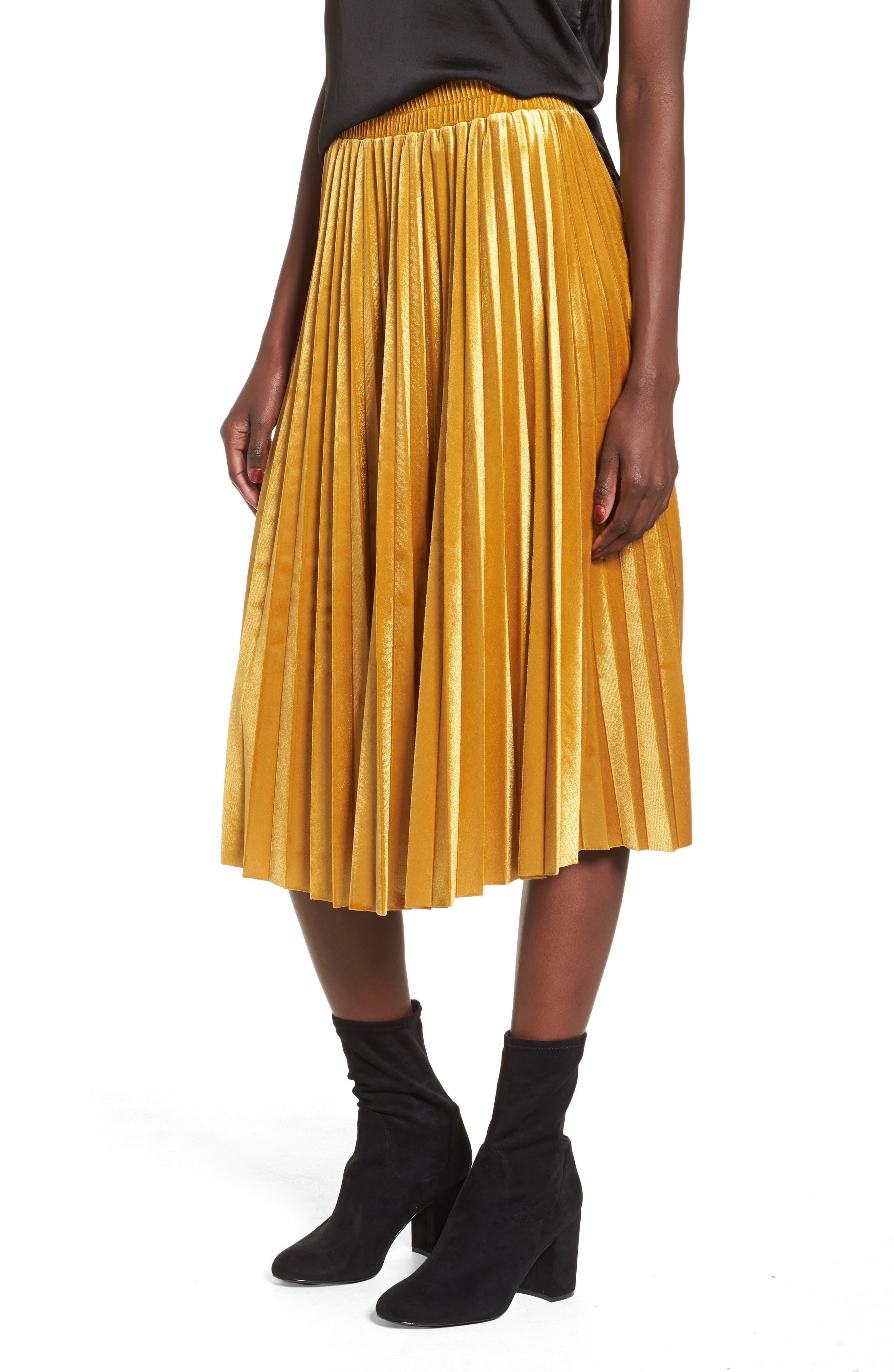 Alternate Image 1 Selected - Chelsea28 Pleated Velvet Skirt