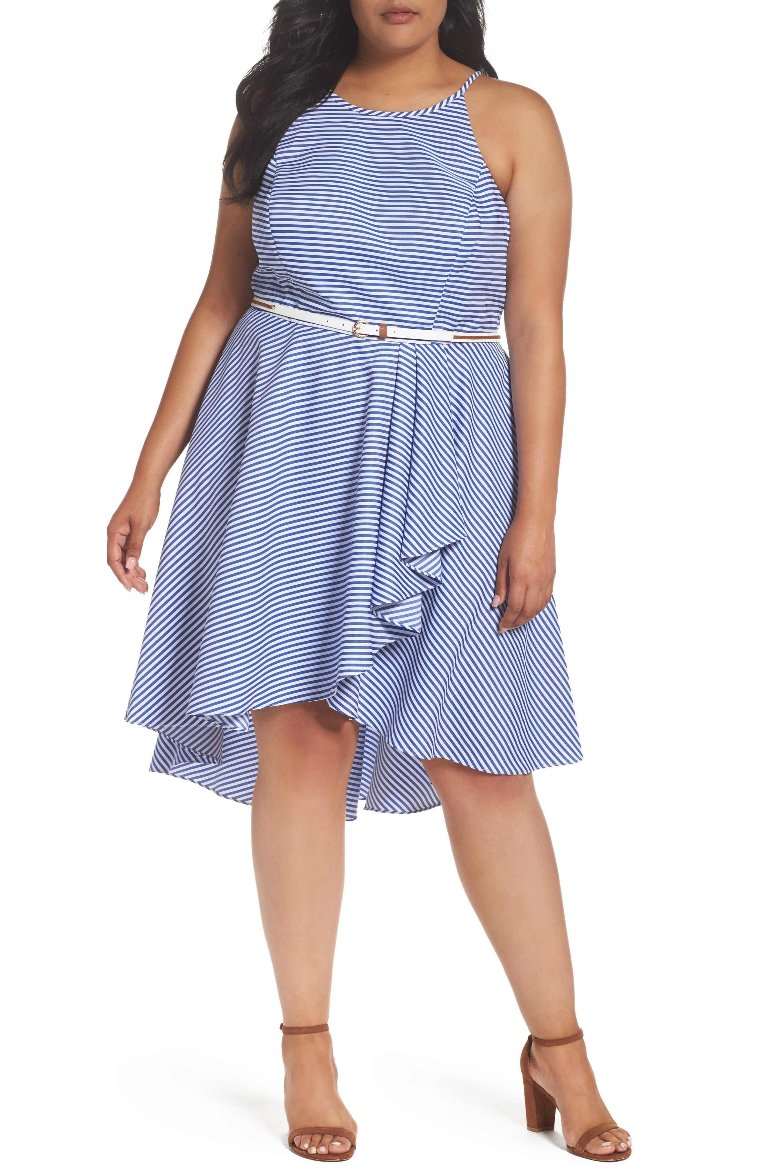 Eliza J Stripe High/Low Dress (Plus Size)