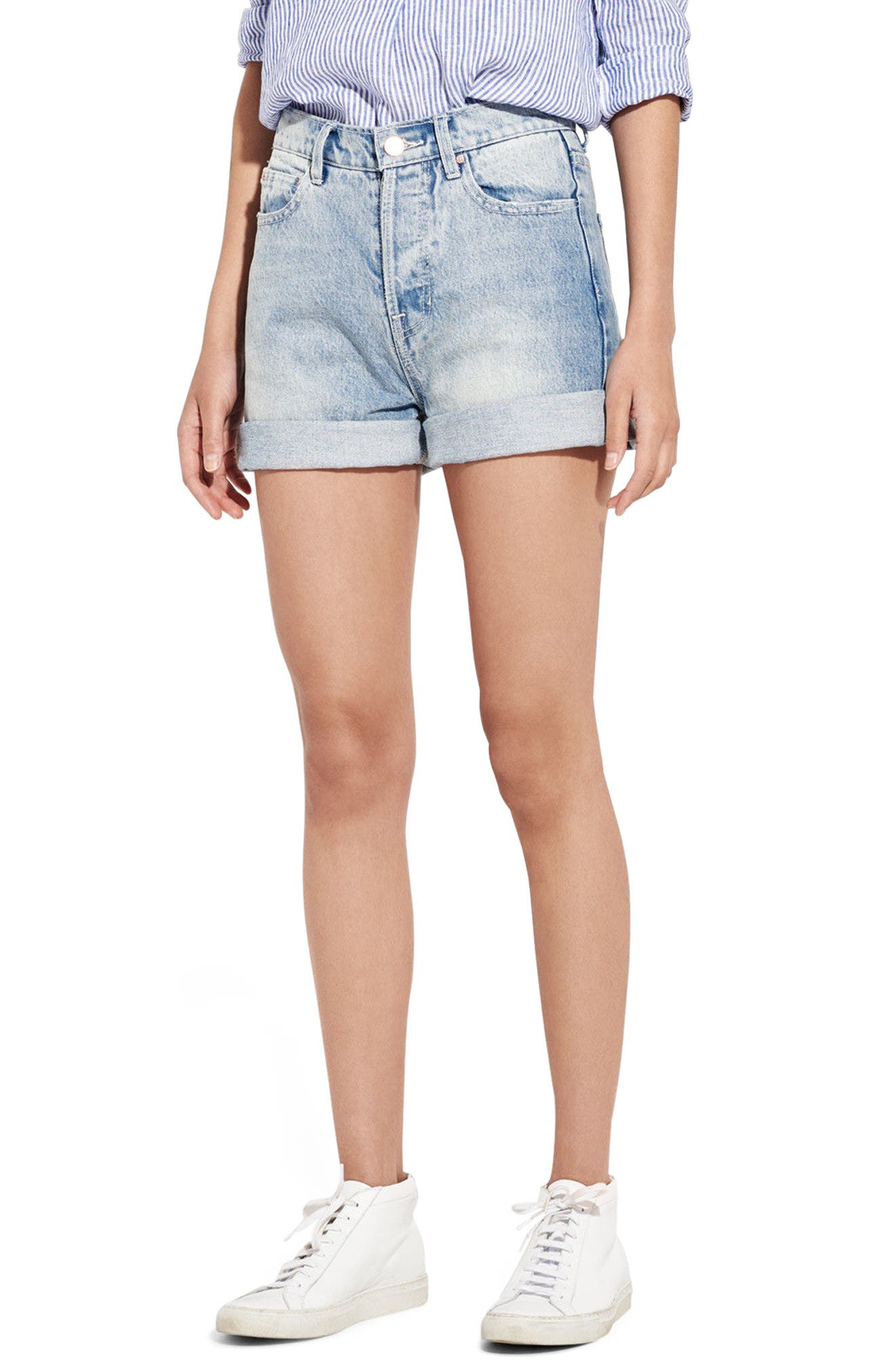 AYR The Always High Waist Denim Shorts (Malibu Quartz)