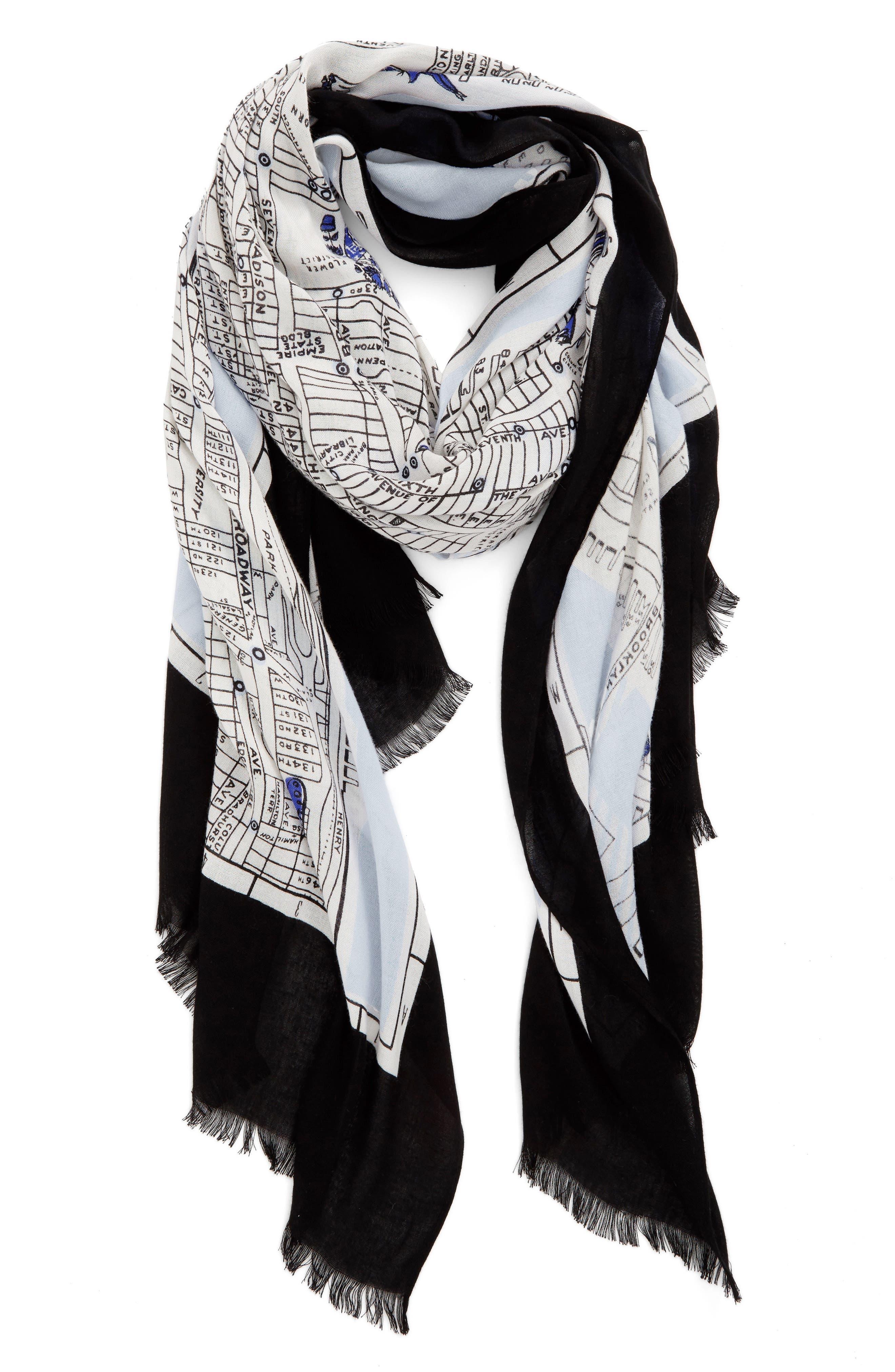 kate spade new york new york map print scarf