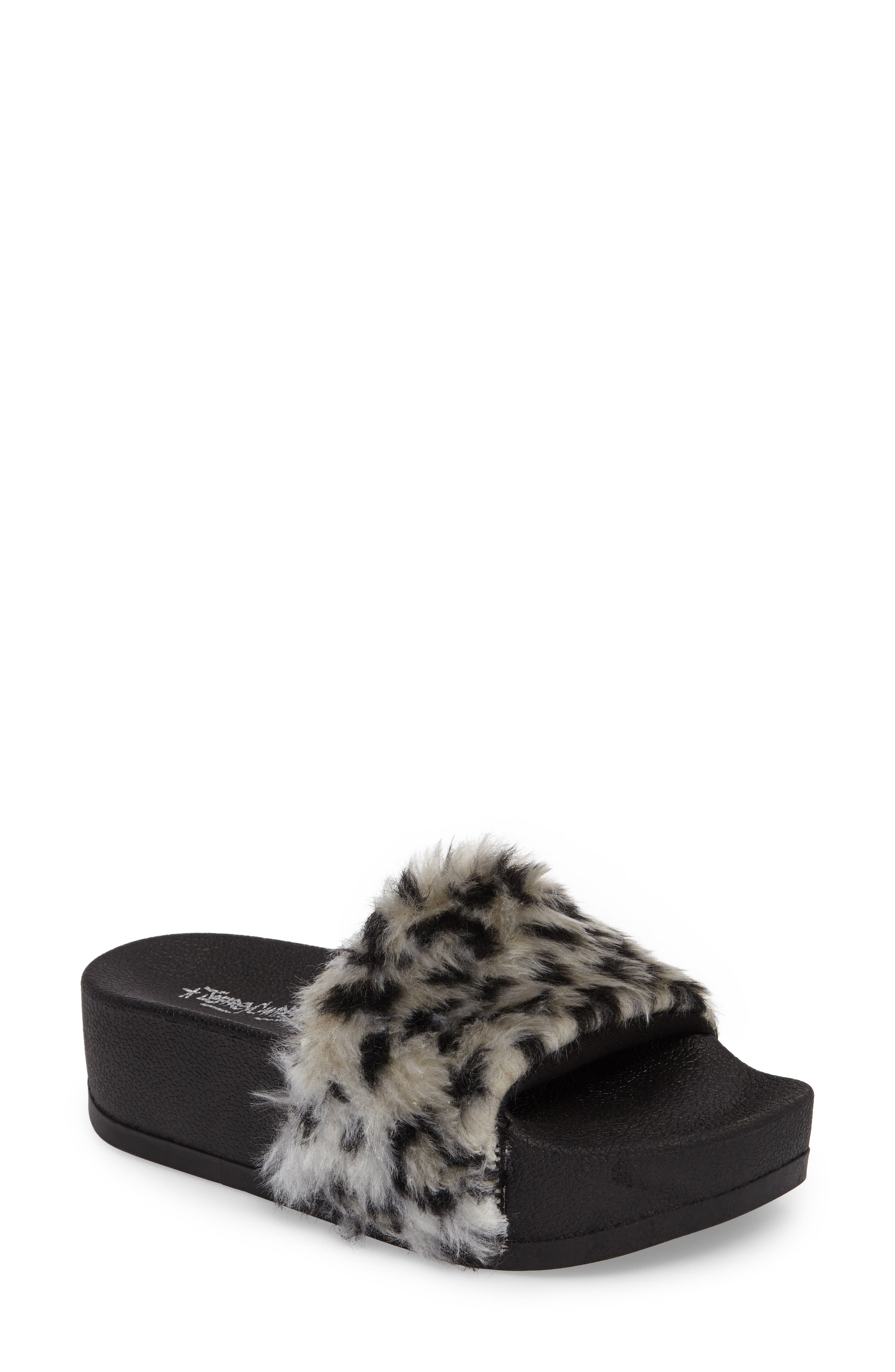 Jeffrey Campbell Lucky Me Faux Fur Flatform Slide (Women)