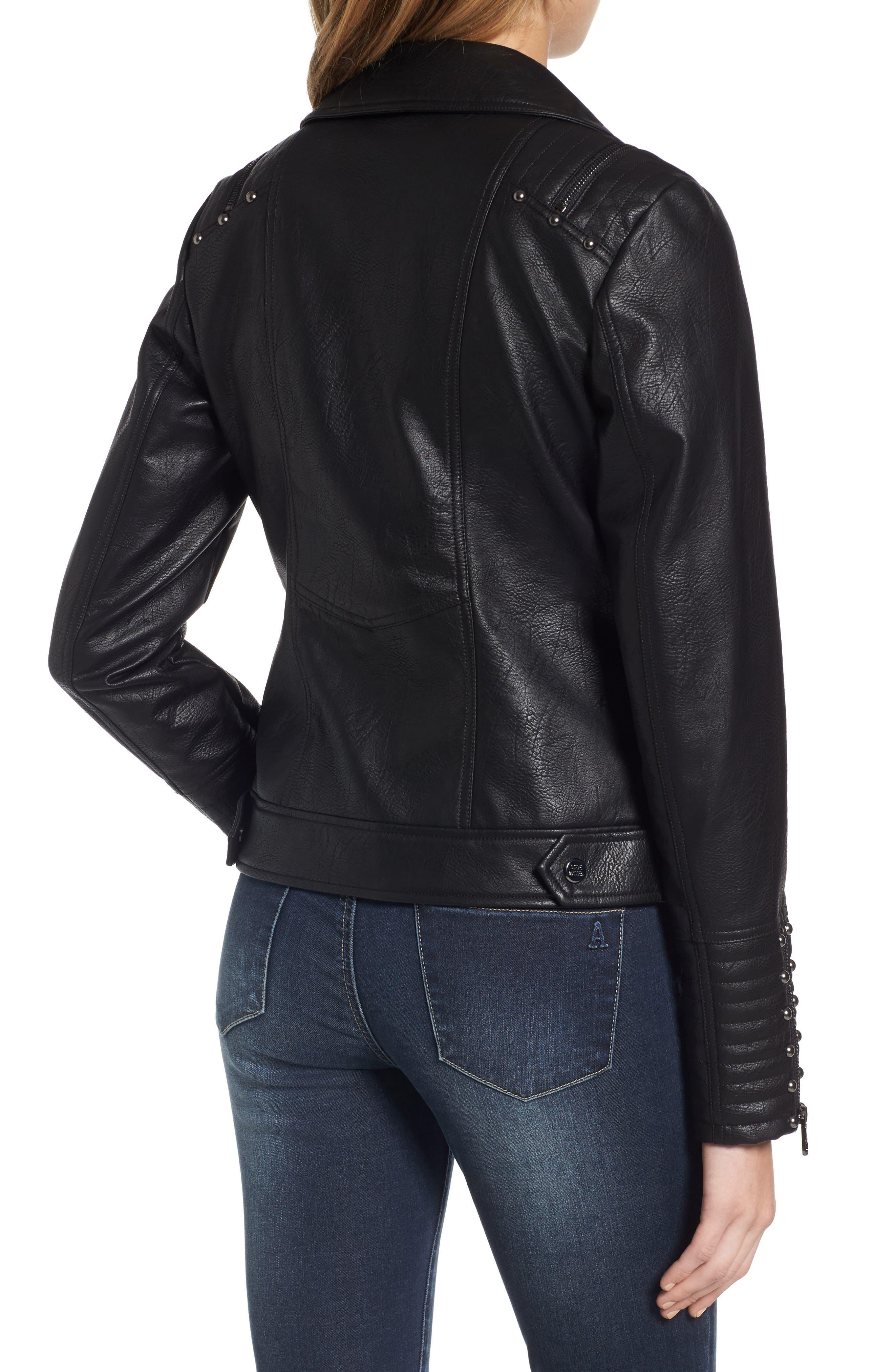 Alternate Image 2  - Steve Madden Studded Faux Leather Biker Jacket