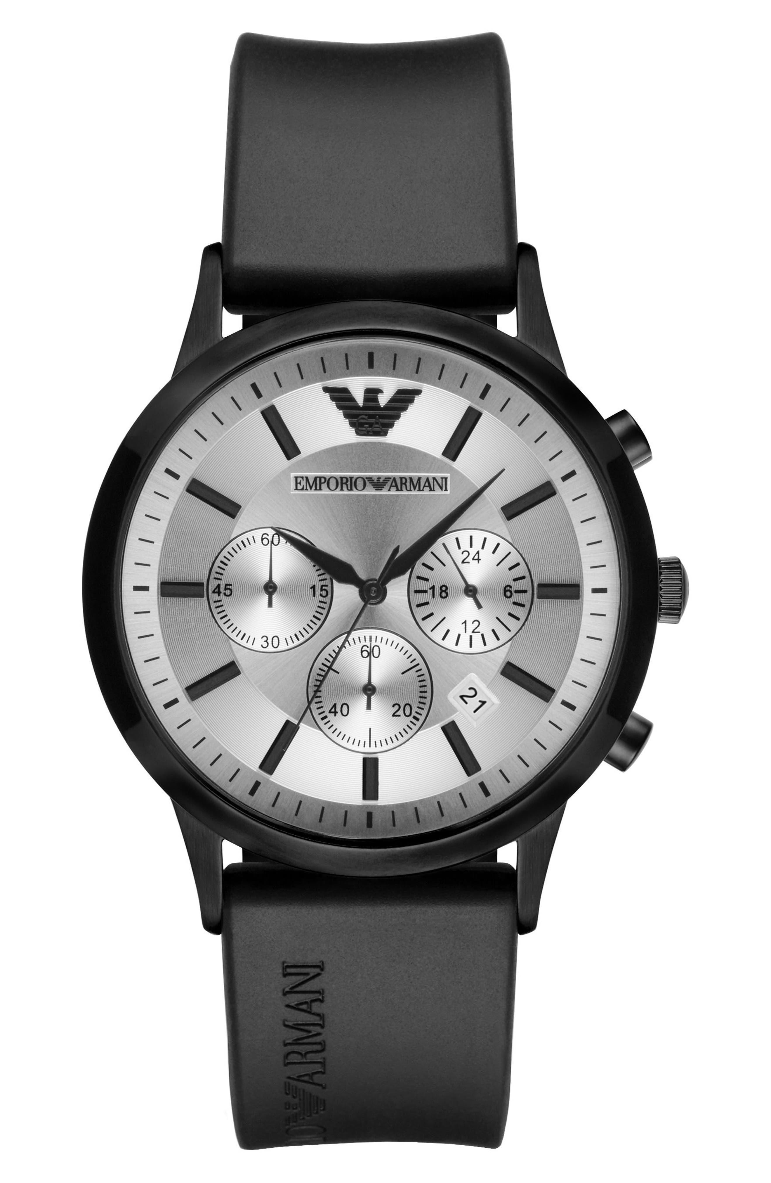 Emporio Armani Chronograph Silicone Strap Watch, 43mm