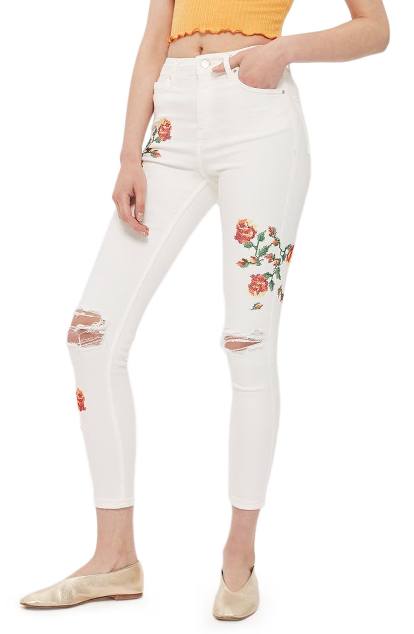 Main Image - Topshop Jamie Embroidered Skinny Jeans (Regular & Petite)