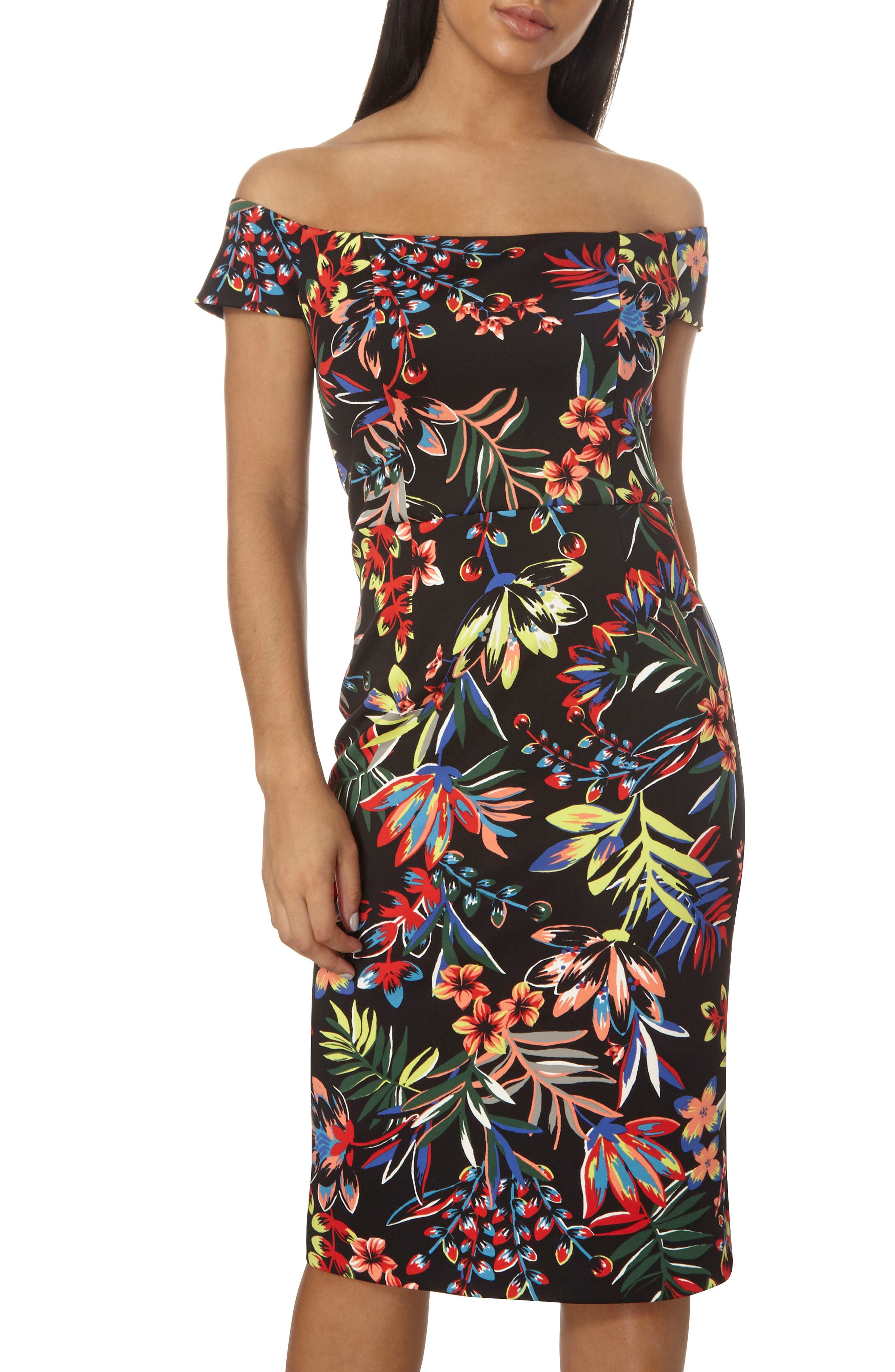 Dorothy Perkins Tropical Bardot Pencil Dress