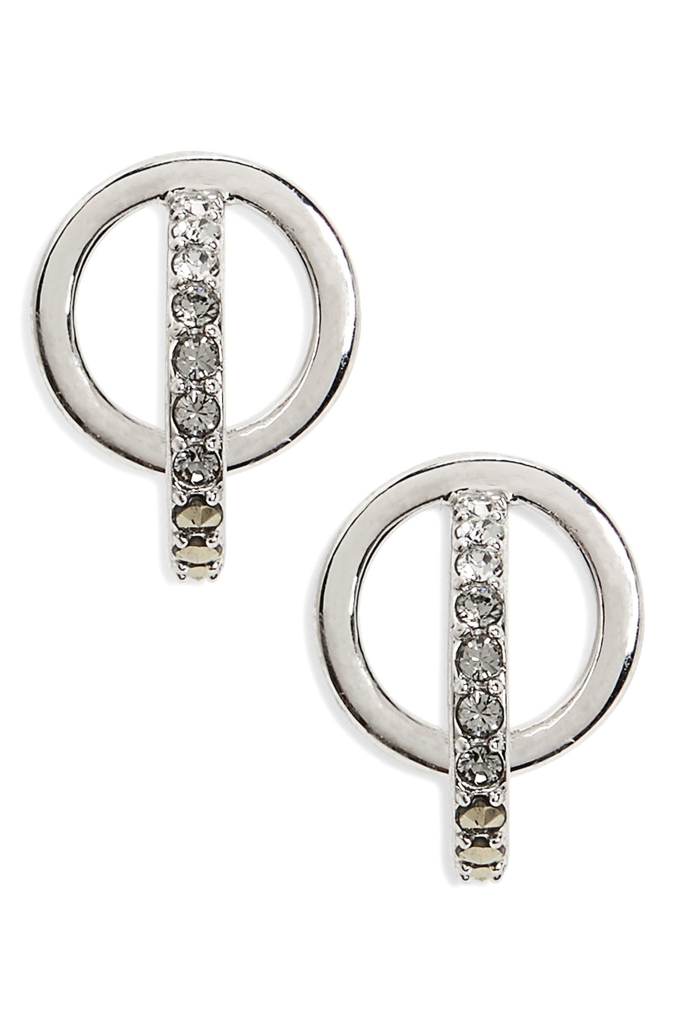 Judith Jack Silver Sparkle Circle Stud Earrings