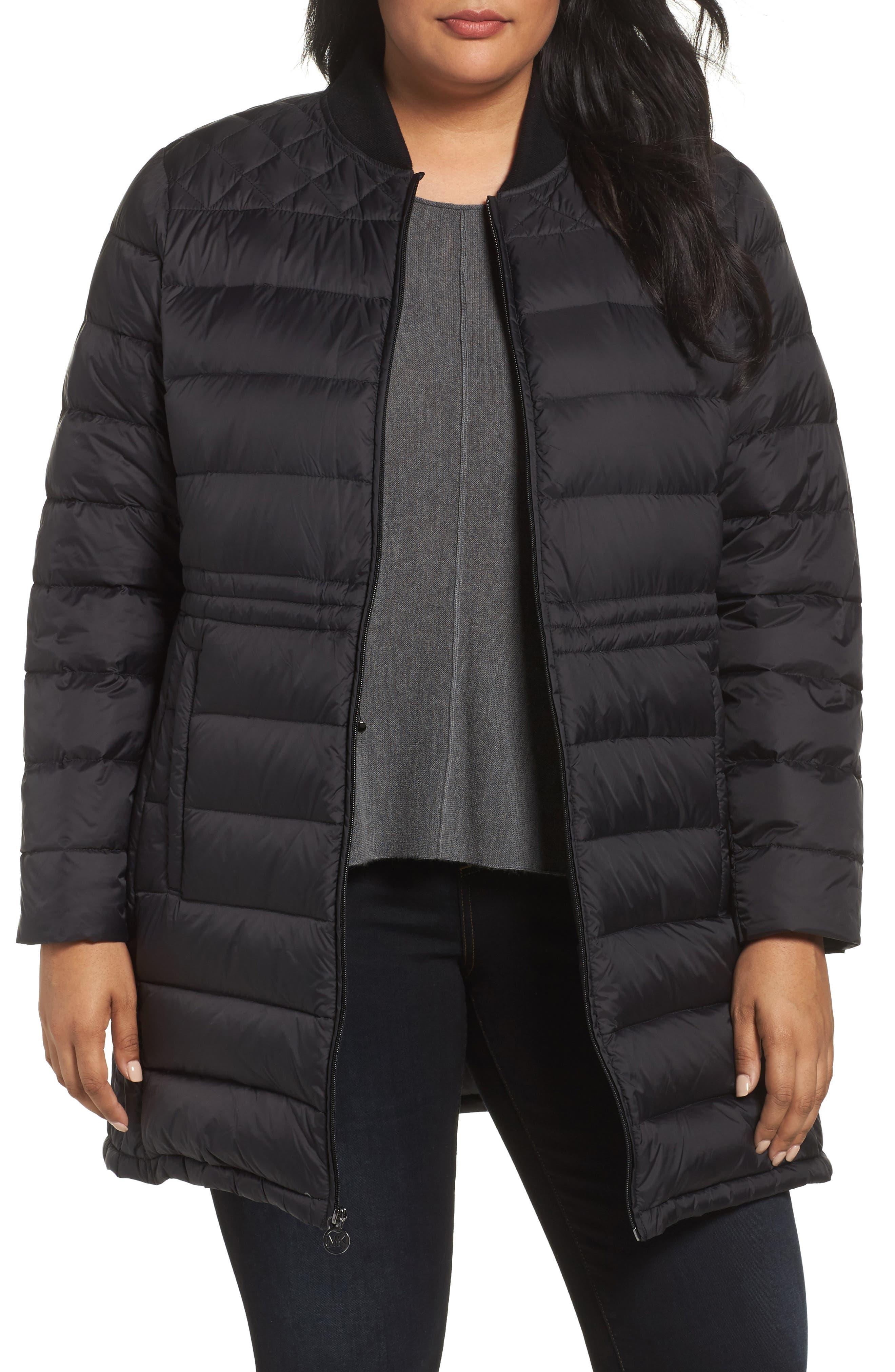MICHAEL Michael Kors Packable Knit Trim Anorak (Plus Size)