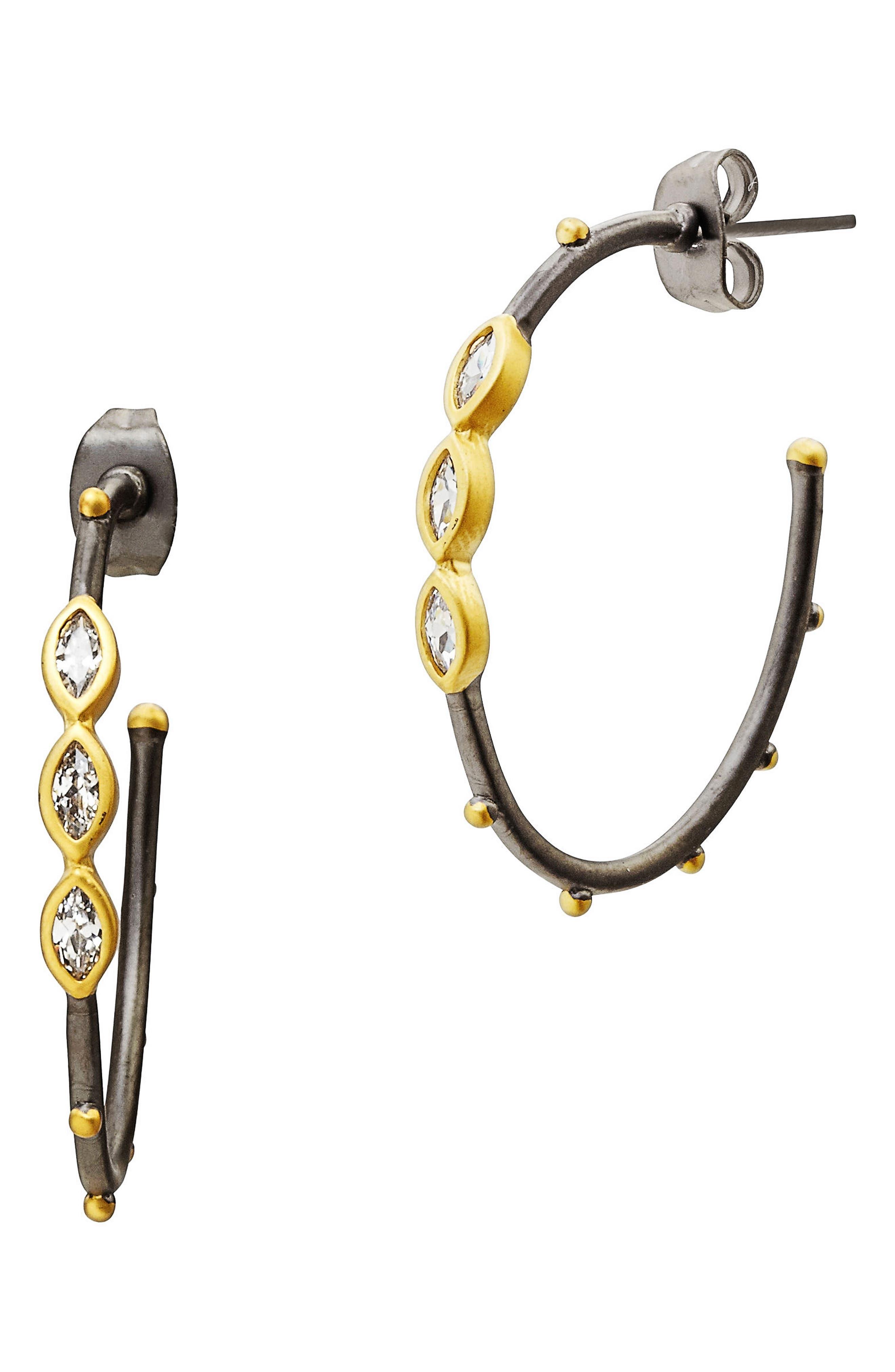 FREIDA ROTHMAN Marquise Station Hoop Earrings