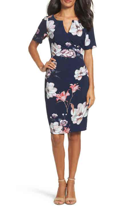 Adrianna Papell Pleated Floral Sheath Dress