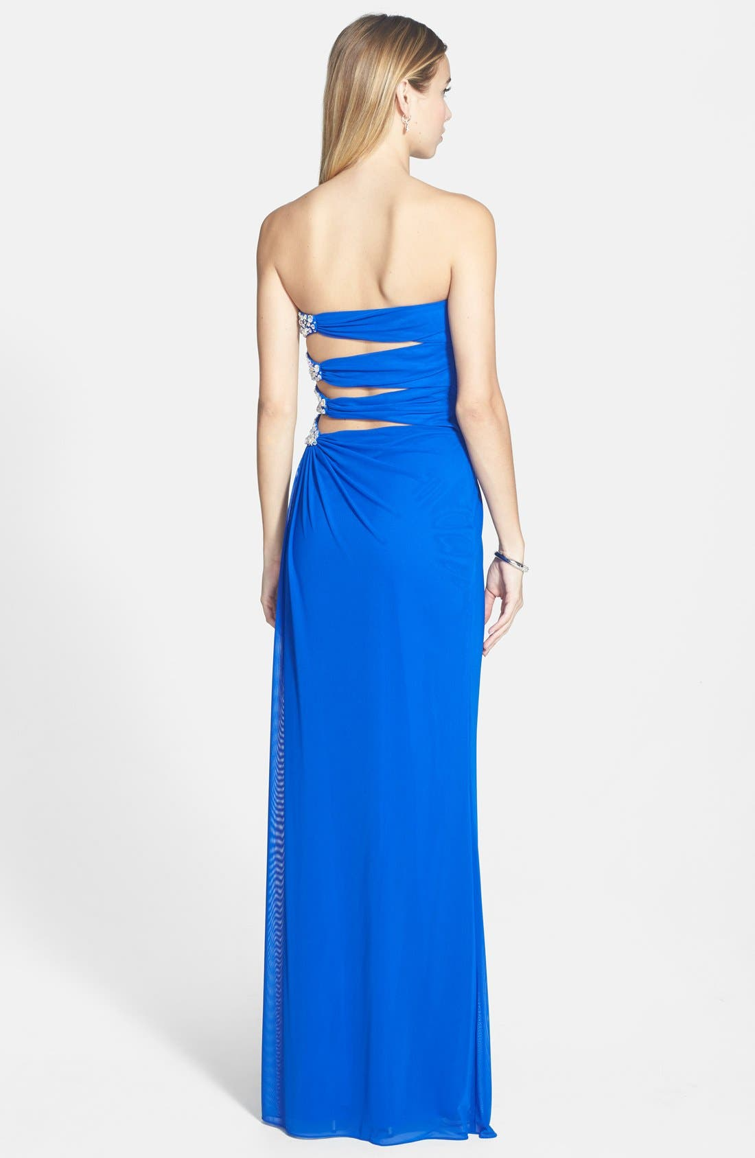 Alternate Image 2  - Xscape Side Cutout Embellished Strapless Gown