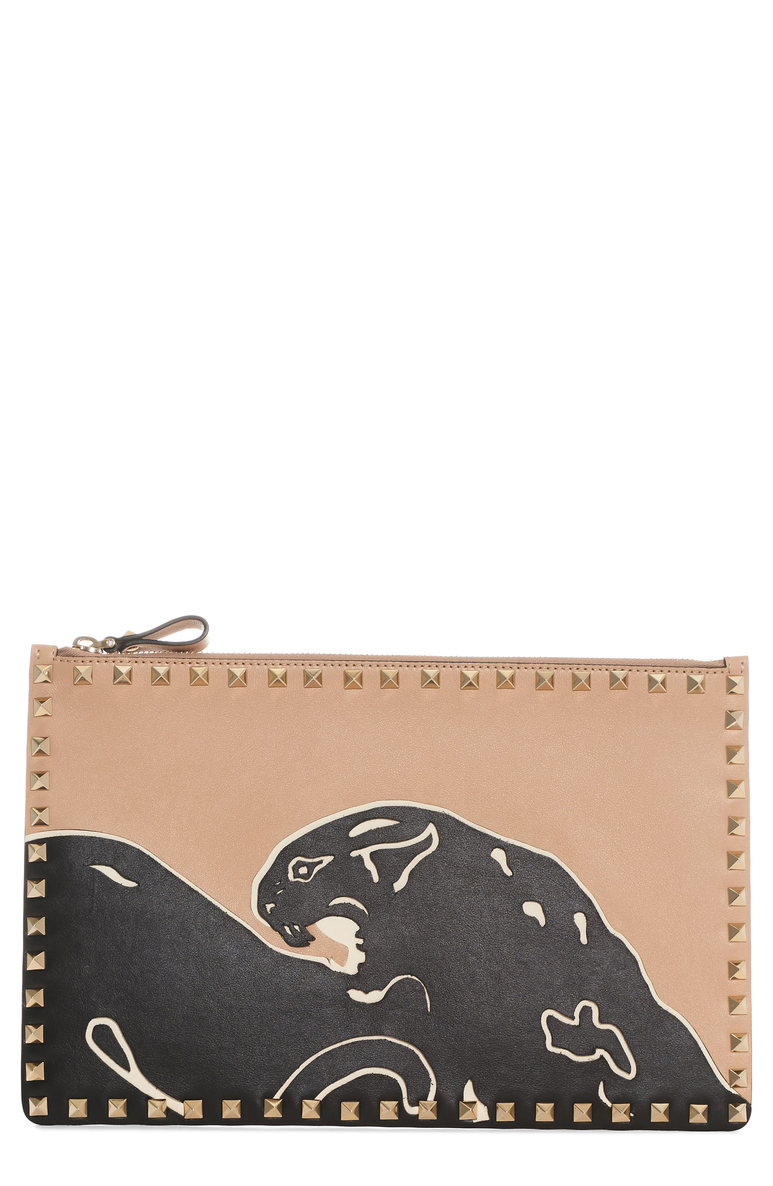 Valentino Large Rockstud Panther Leather Pouch