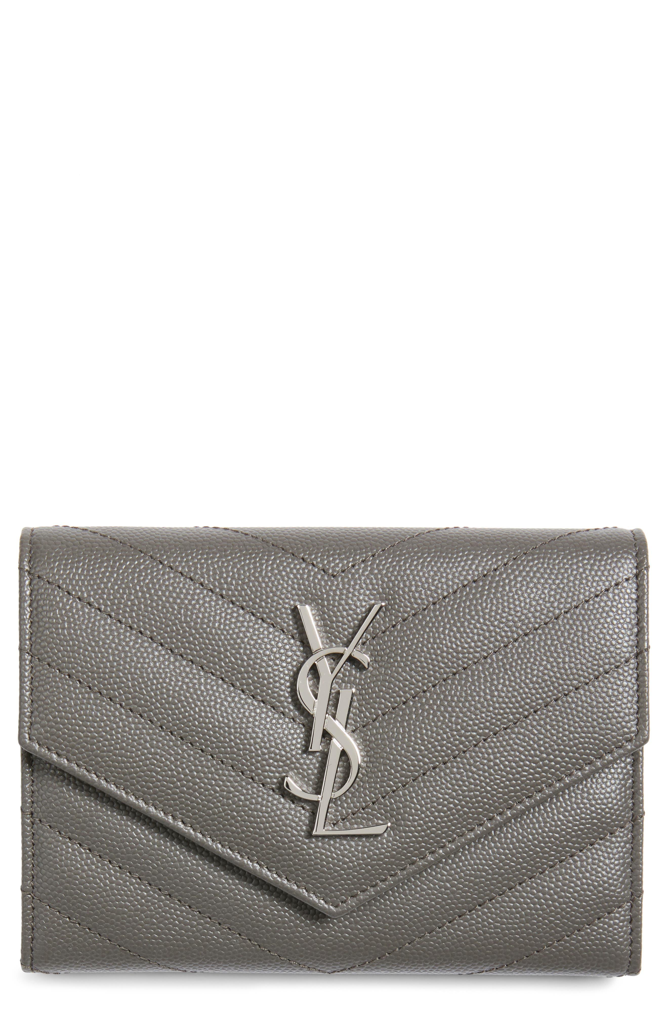 Saint Laurent Monogram Matelassé Leather Passport Case