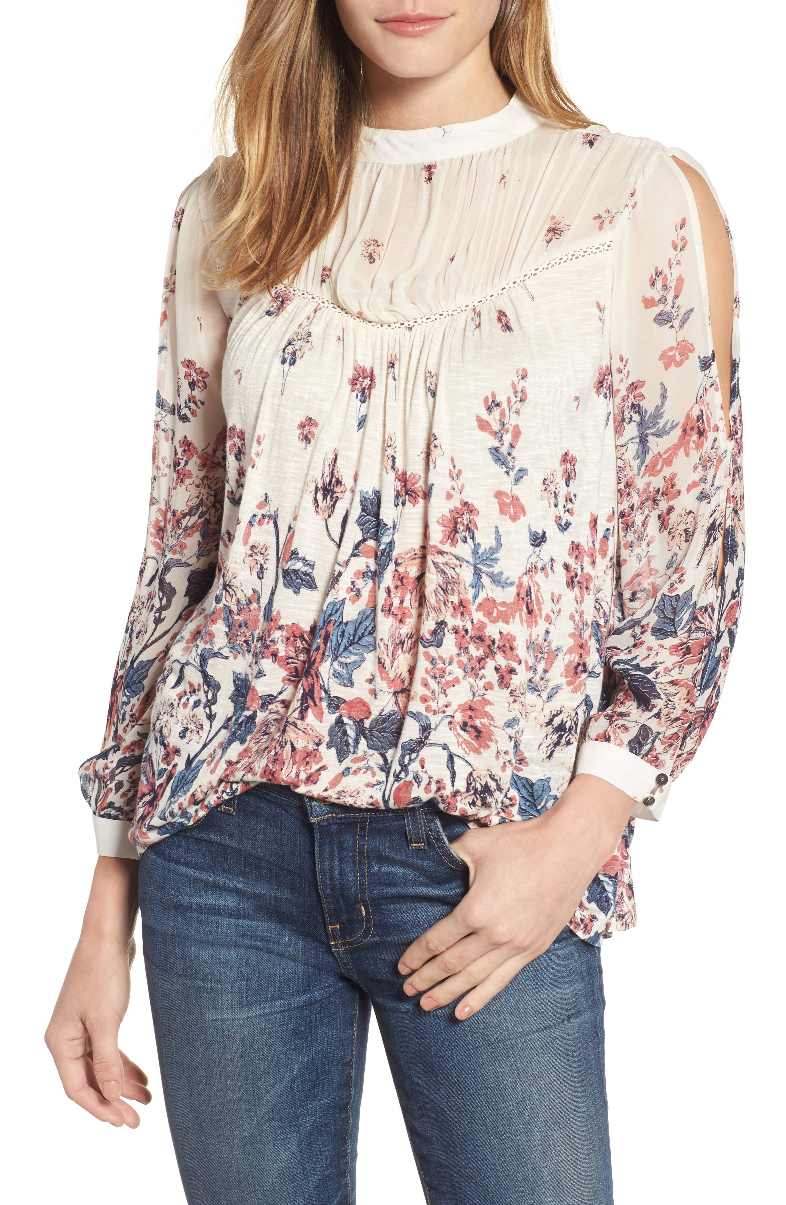 Lucky Brand Placed Floral Print Top