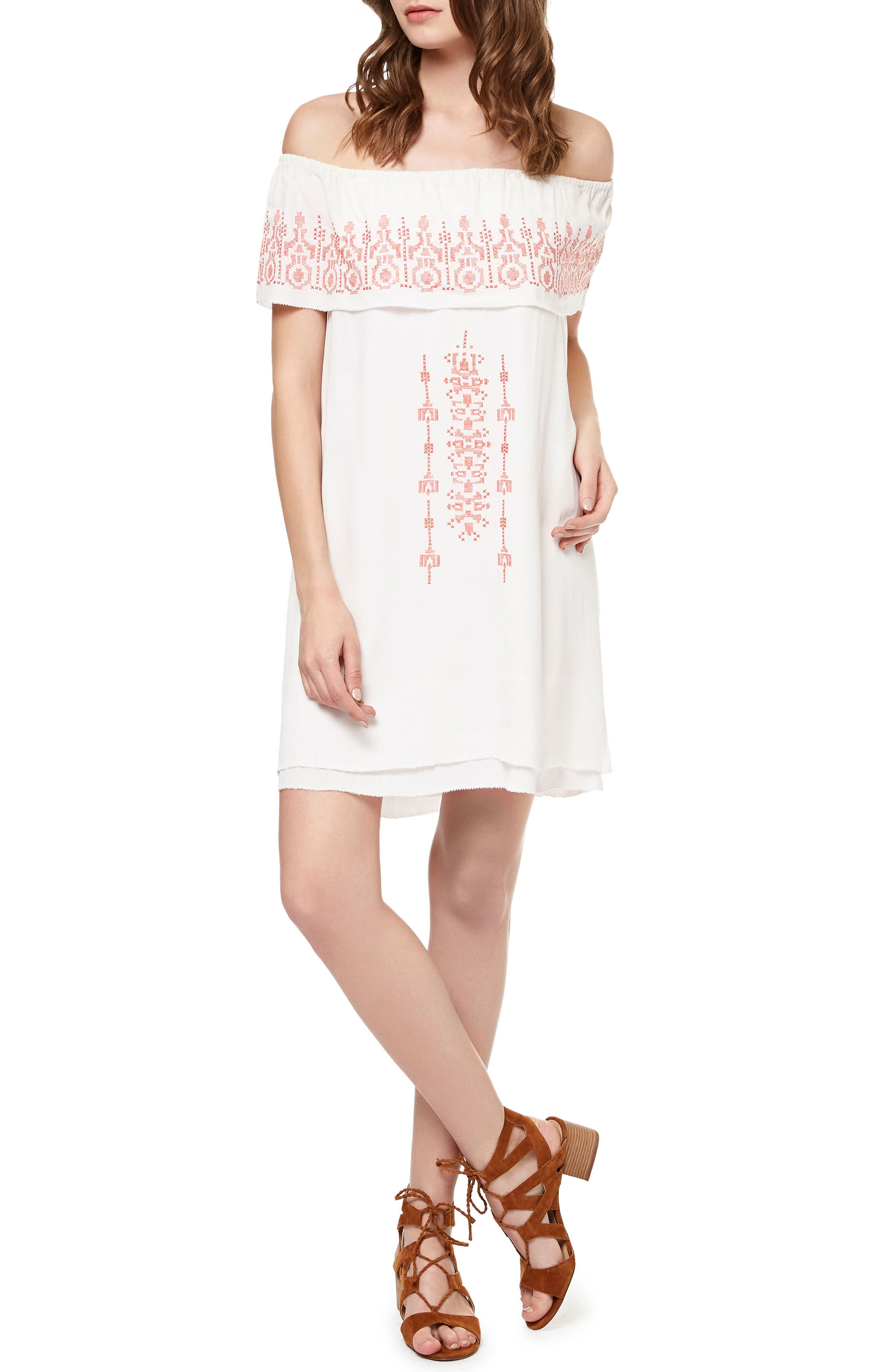 Sanctuary Lulu Embroidered Off the Shoulder Shift Dress