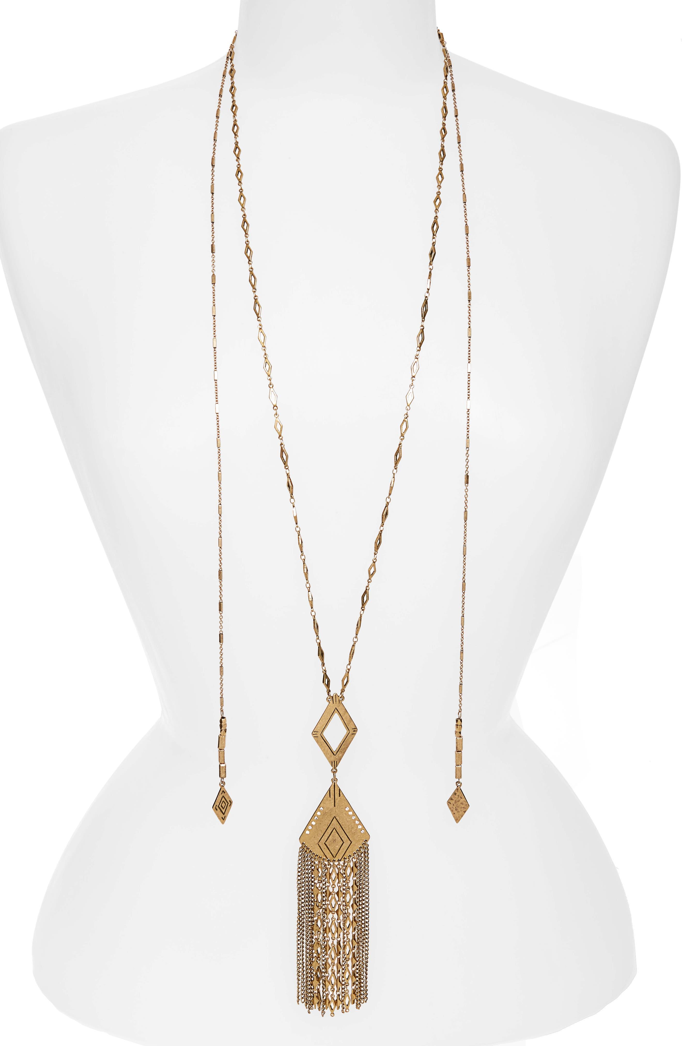Main Image - Treasure & Bond Long Fringe Pendant Necklace